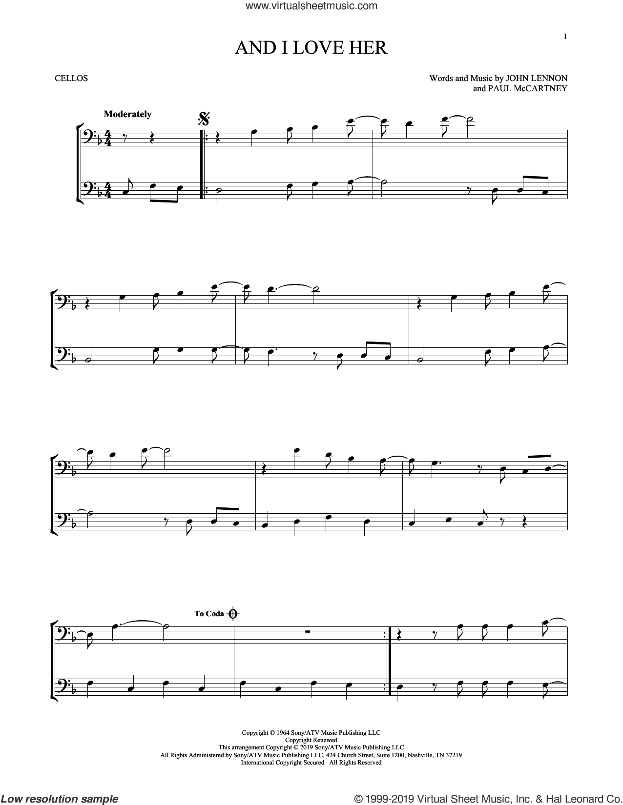 And I Love Her sheet music for two cellos (duet, duets) by The Beatles, John Lennon and Paul McCartney, intermediate skill level