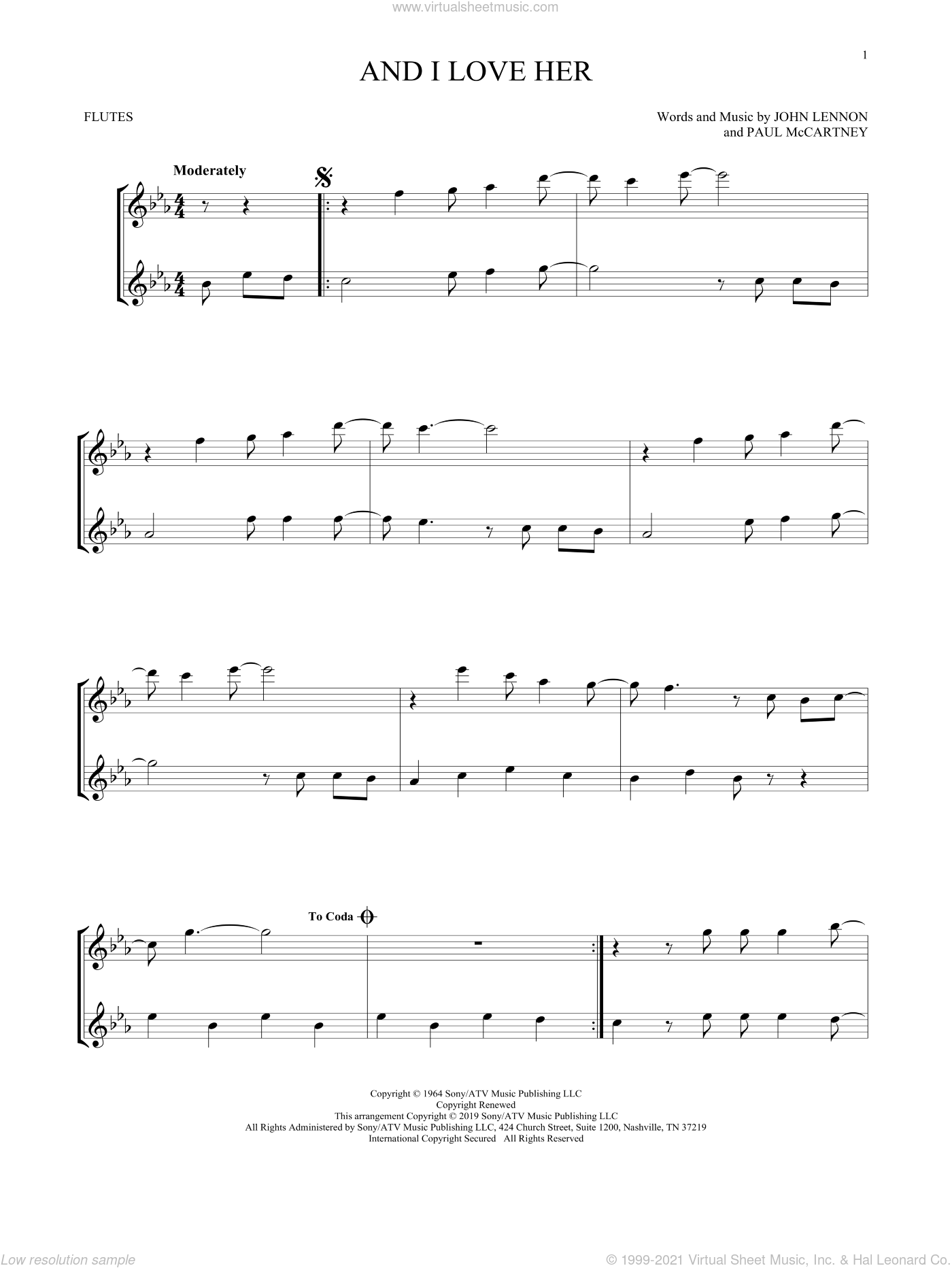 And I Love Her sheet music for two flutes (duets) by The Beatles, John Lennon and Paul McCartney, intermediate skill level