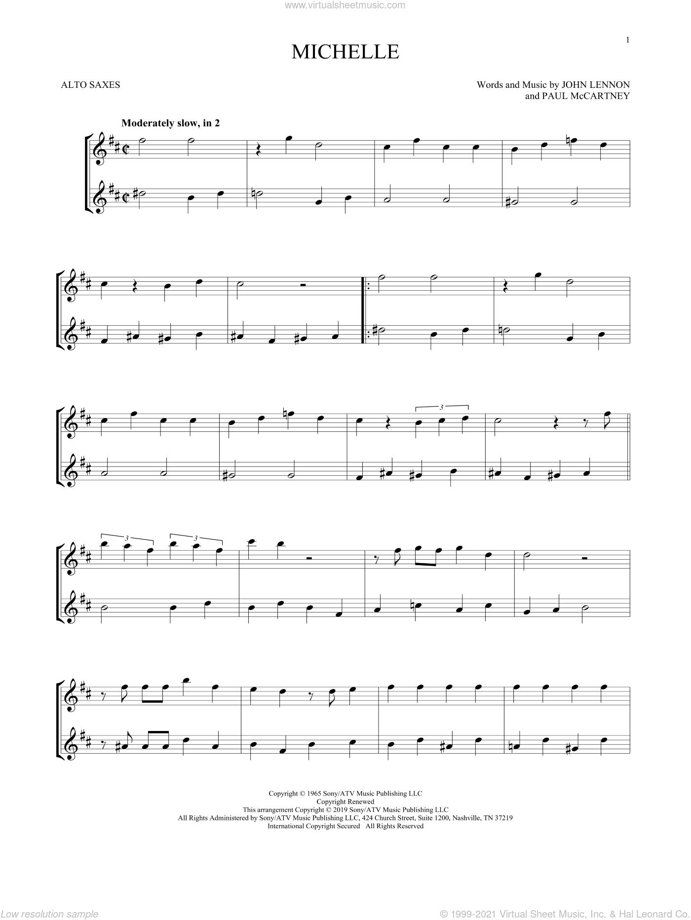 Michelle sheet music for two alto saxophones (duets) by The Beatles, John Lennon and Paul McCartney, intermediate skill level