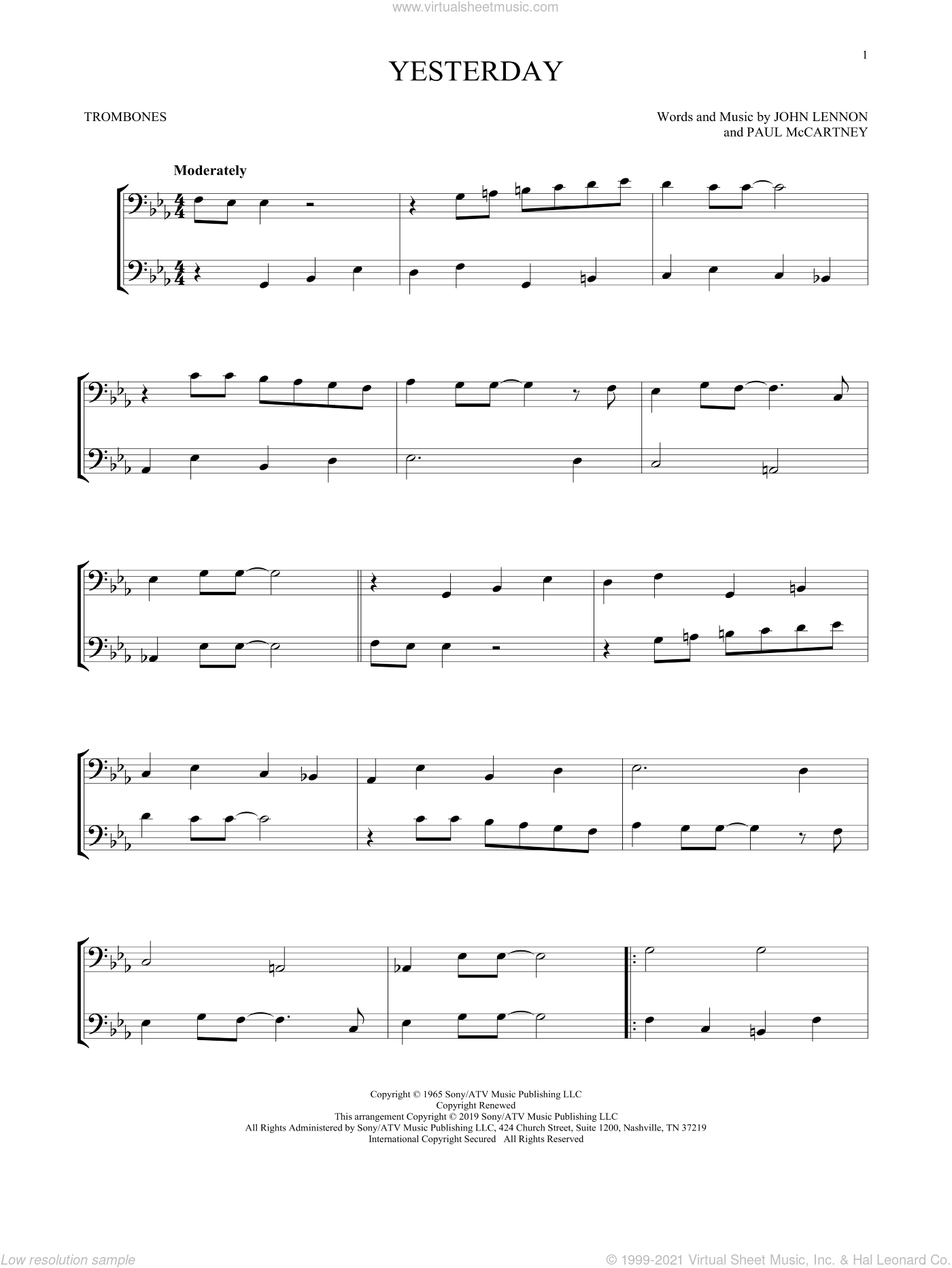 Yesterday sheet music for two trombones (duet, duets) by The Beatles, John Lennon and Paul McCartney, intermediate skill level