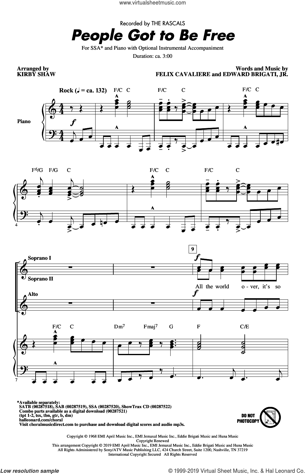 People Got To Be Free (arr. Kirby Shaw) sheet music for choir (SSA: soprano, alto) by The Rascals, Kirby Shaw, Edward Brigati Jr. and Felix Cavaliere, intermediate skill level