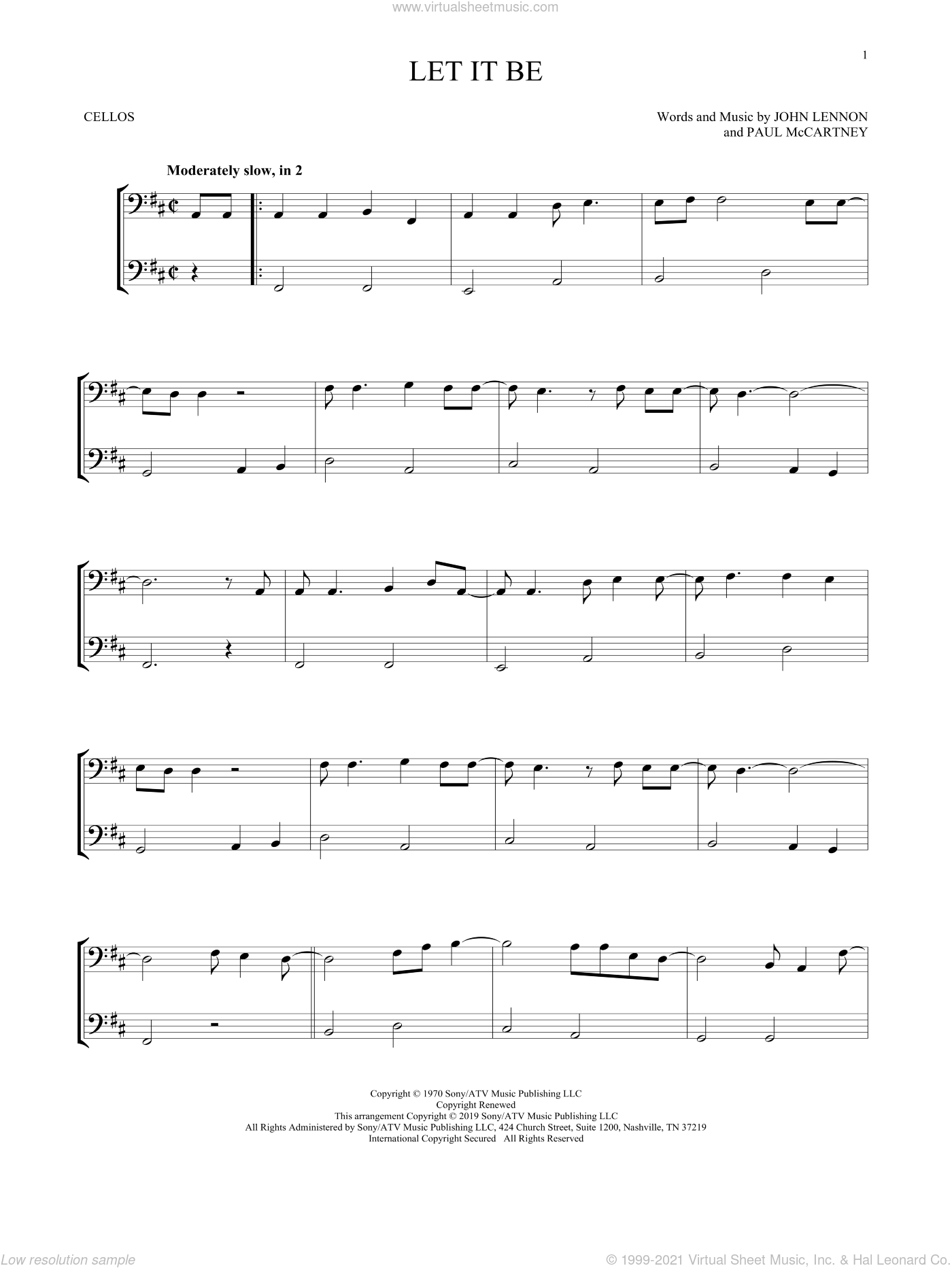 Let It Be sheet music for two cellos (duet, duets) by The Beatles, John Lennon and Paul McCartney, intermediate skill level
