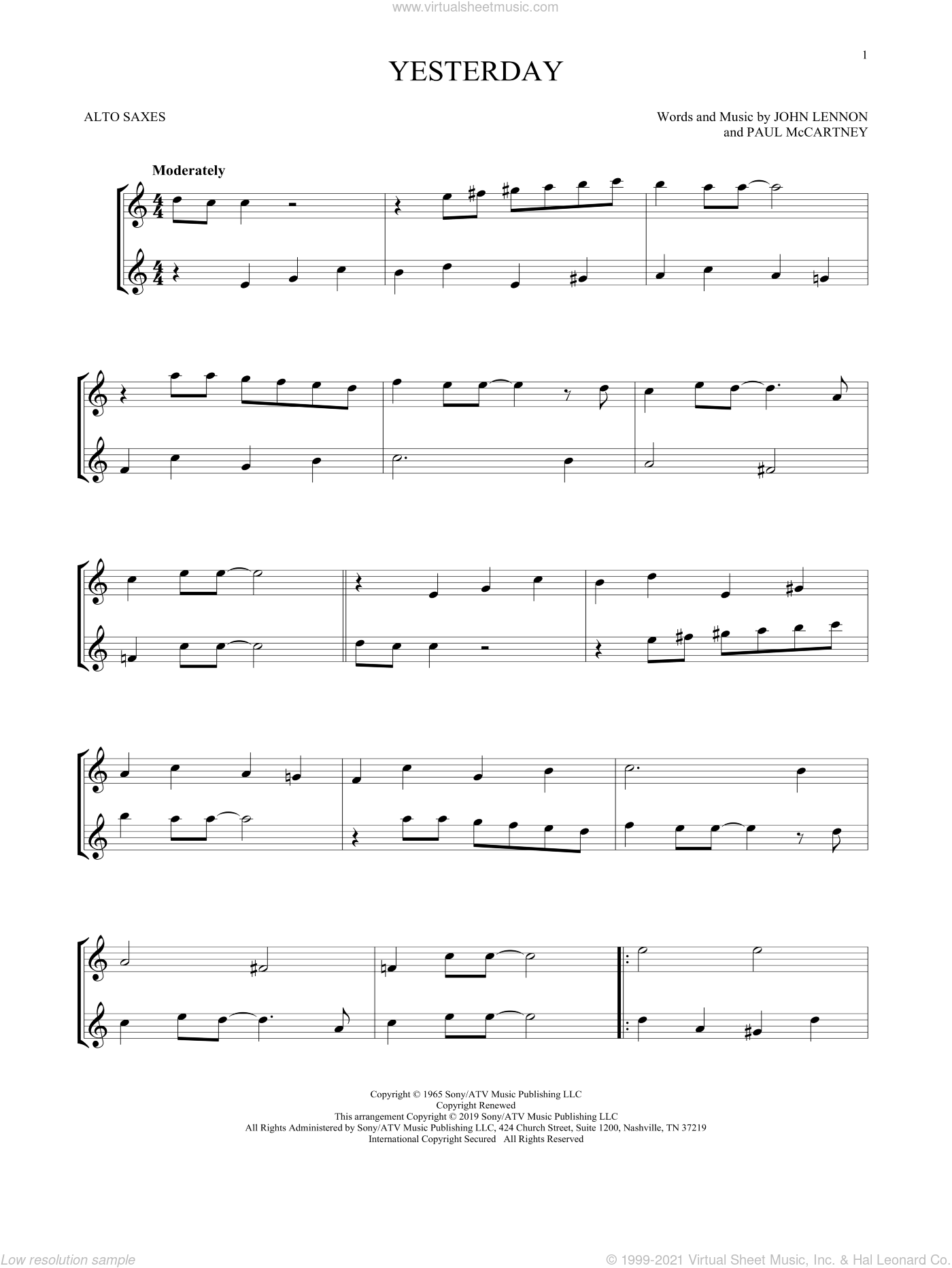 Yesterday sheet music for two alto saxophones (duets) by The Beatles, John Lennon and Paul McCartney, intermediate skill level