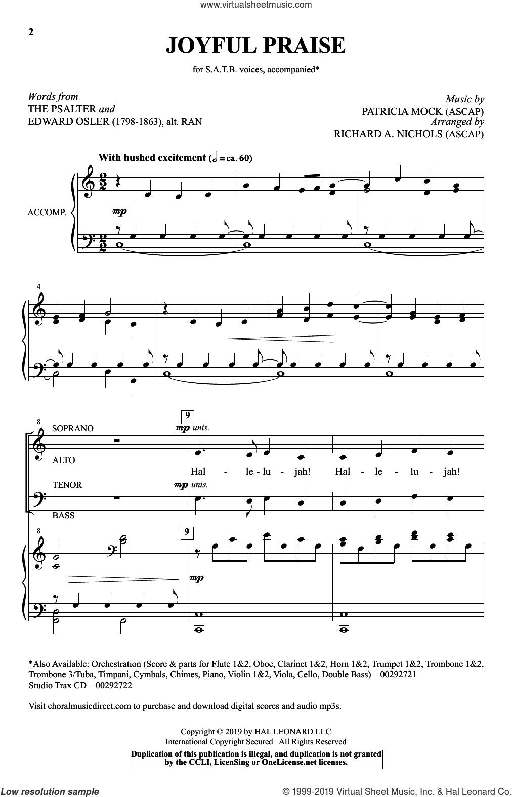 Joyful Praise sheet music for choir (SATB: soprano, alto, tenor, bass) by Patricia Mock, Richard A. Nichols and The Psalter, intermediate skill level