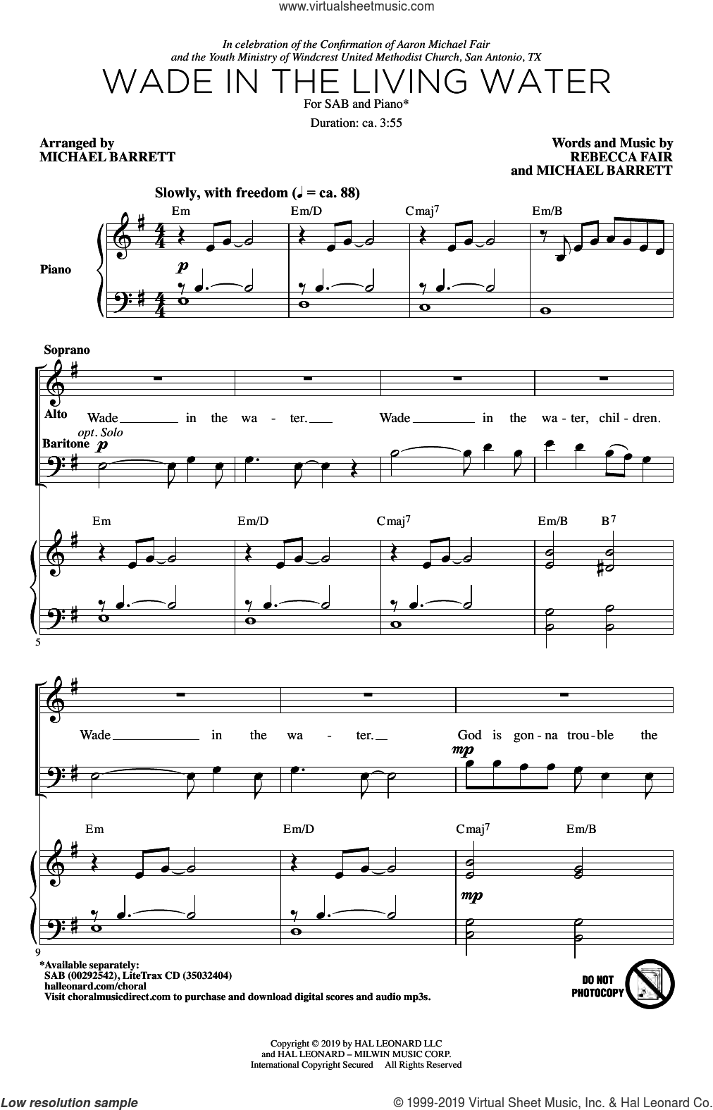 Wade In The Living Water sheet music for choir (SAB: soprano, alto, bass) by Michael Barrett, Rebecca Fair and Rebecca Fair & Michael Barrett, intermediate skill level