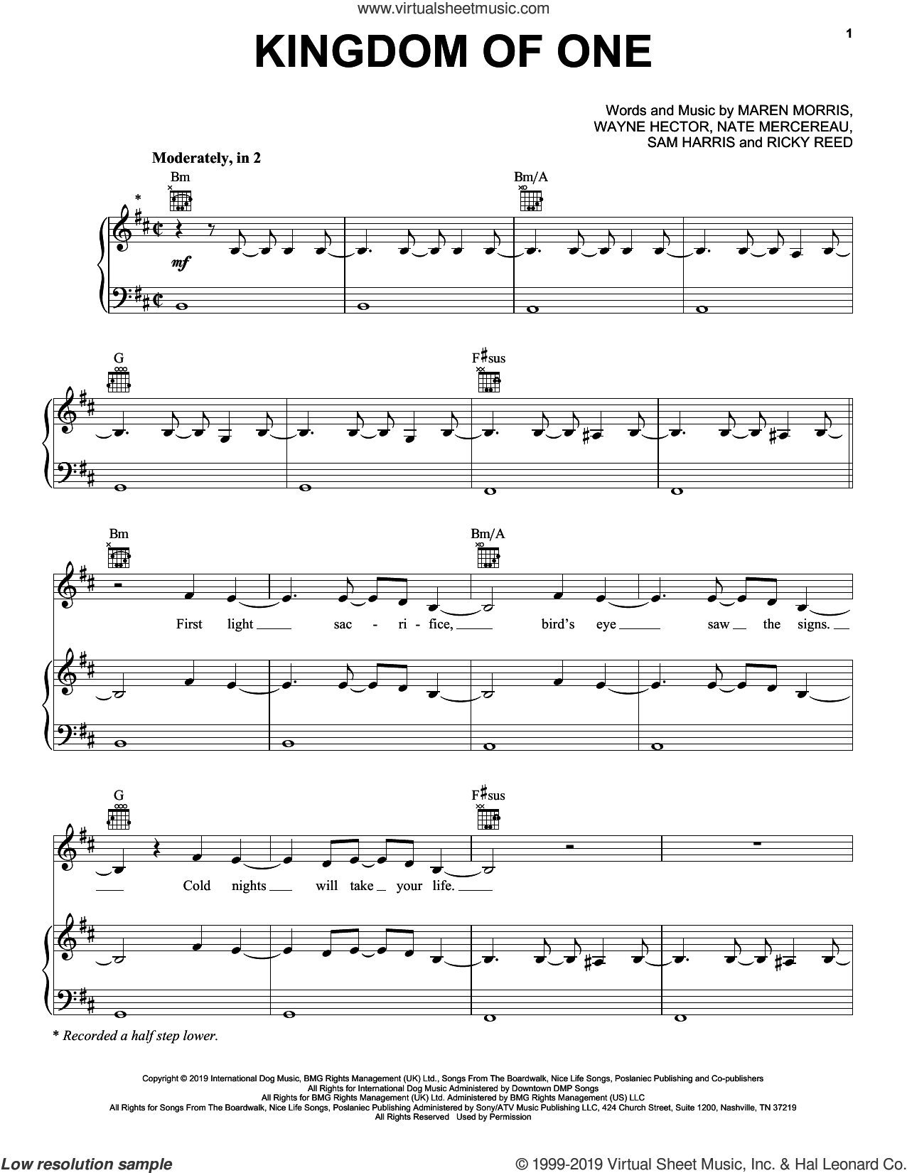 Kingdom Of One (from For the Throne: Music Inspired by Game of Thrones) sheet music for voice, piano or guitar by Maren Morris, Nate Mercereau, Ricky Reed, Sam Harris and Wayne Hector, intermediate skill level
