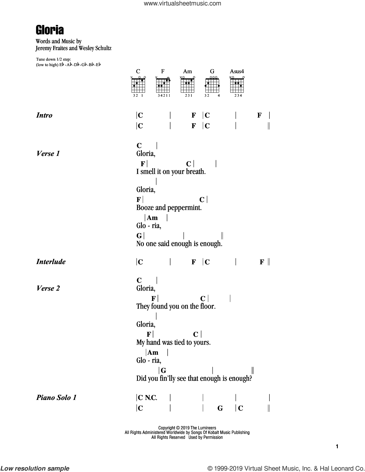 Gloria sheet music for guitar (chords) by The Lumineers, Jeremy Fraites and Wesley Schultz, intermediate skill level