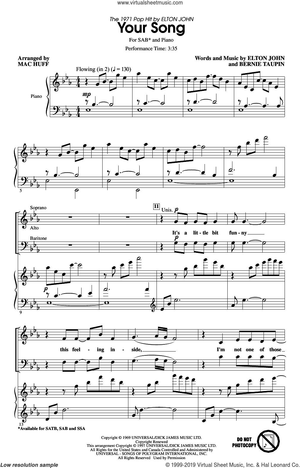 Your Song (arr. Mac Huff) sheet music for choir (SAB: soprano, alto, bass) by Elton John, Mac Huff, Rod Stewart, Elton John and Bernie Taupin and Bernie Taupin, intermediate skill level