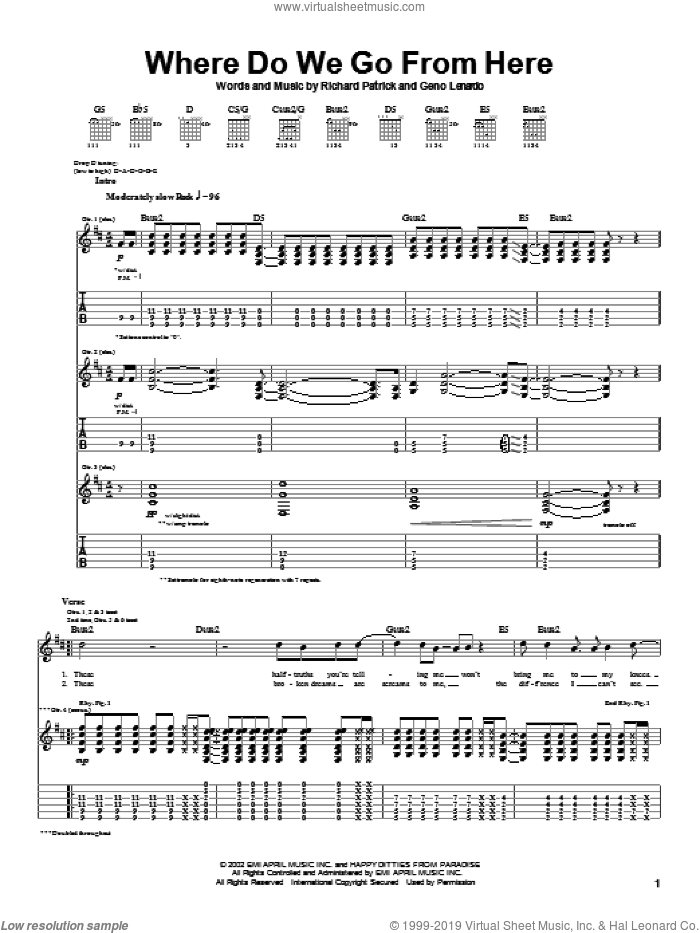 Where Do We Go From Here sheet music for guitar (tablature) by Richard Patrick and Filter. Score Image Preview.