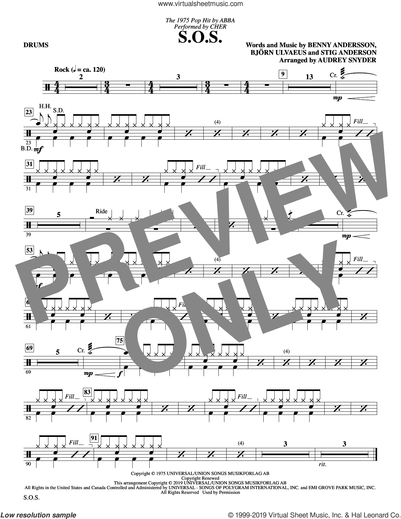 S.O.S. (arr. Audrey Snyder) sheet music for orchestra/band (drums) by Cher, Audrey Snyder, ABBA, Benny Andersson, Bjorn Ulvaeus and Stig Anderson, intermediate skill level