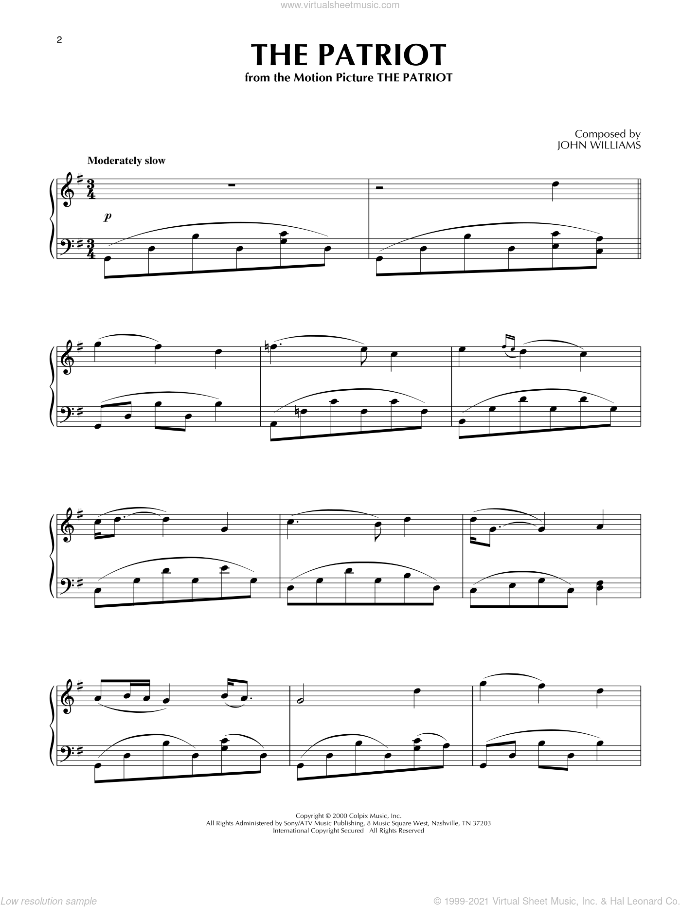 The Patriot sheet music for piano solo by John Williams, intermediate skill level