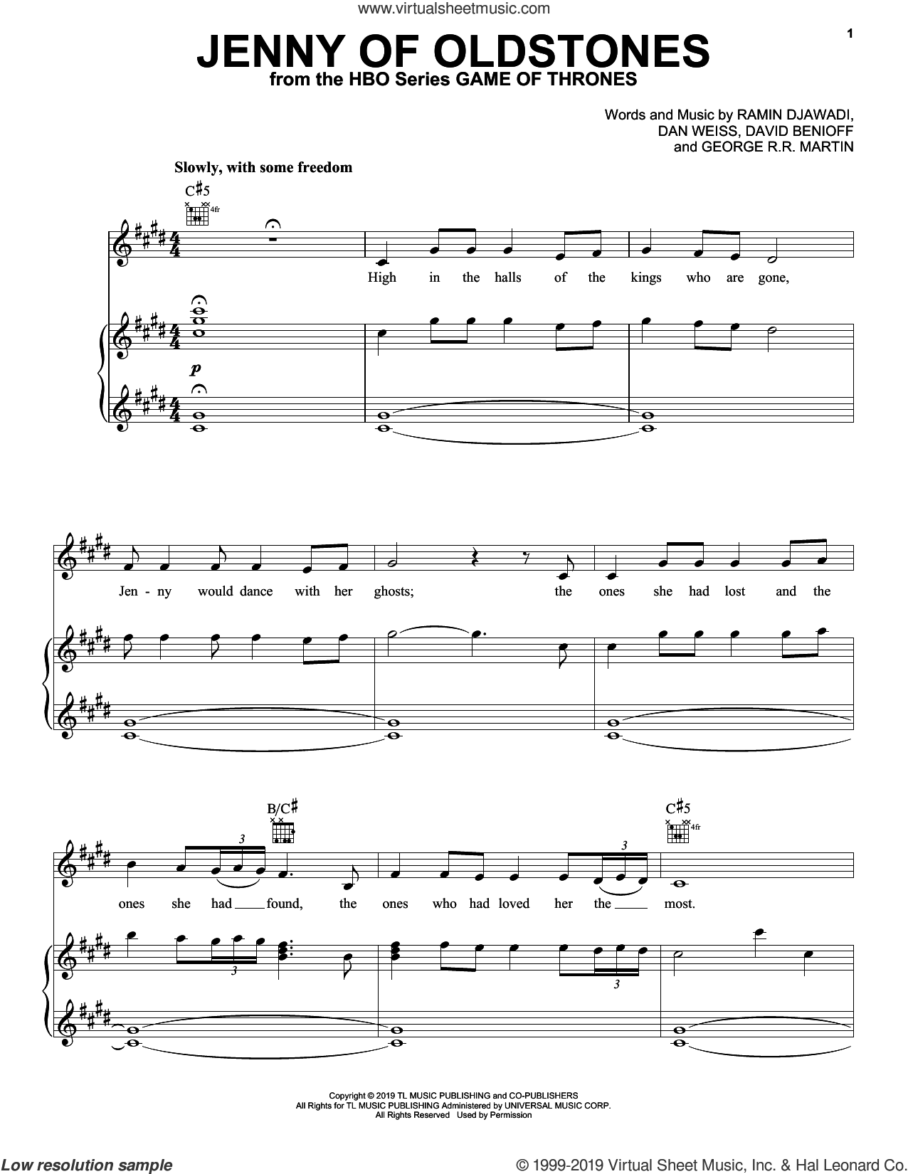 Jenny Of Oldstones (from Game of Thrones) sheet music for voice, piano or guitar by Ramin Djawadi, Florence + The Machine, Florence And The  Machine, Dan Weiss, David Benioff and George R.R. Martin, intermediate skill level