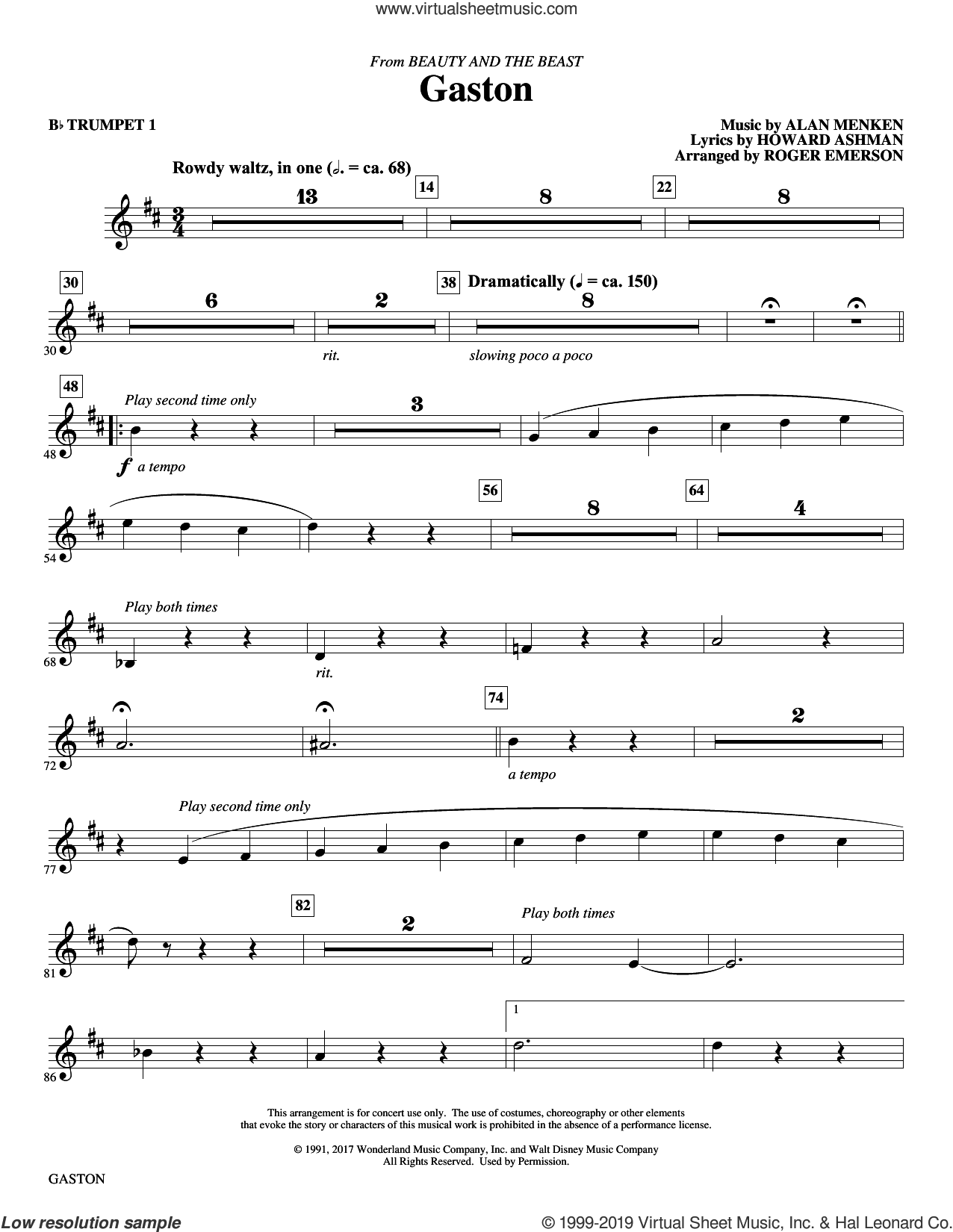 Gaston (from Beauty and The Beast) (arr. Roger Emerson) sheet music for orchestra/band (Bb trumpet 1) by Alan Menken, Roger Emerson and Howard Ashman, intermediate skill level