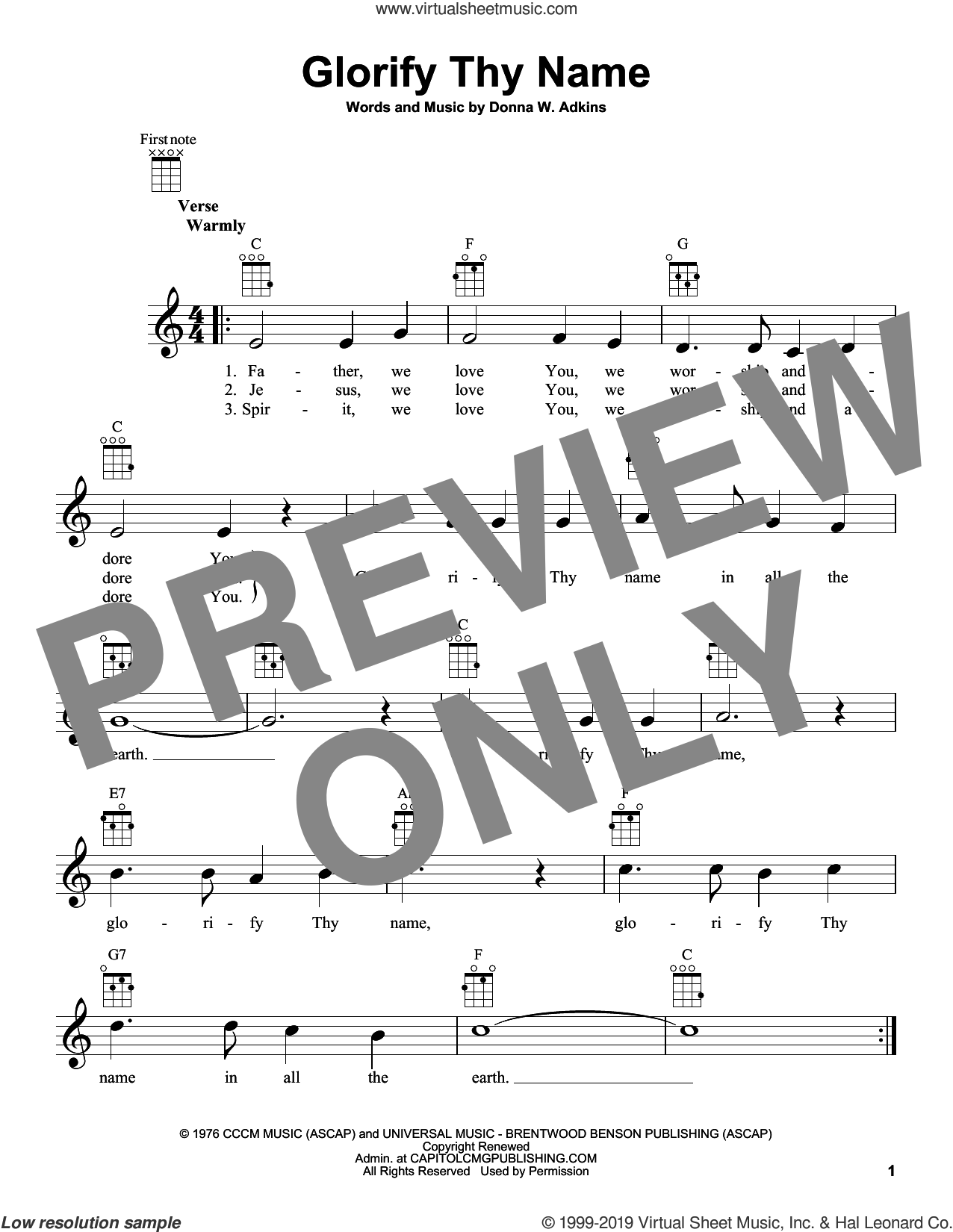 Glorify Thy Name sheet music for ukulele by Donna Adkins, intermediate skill level