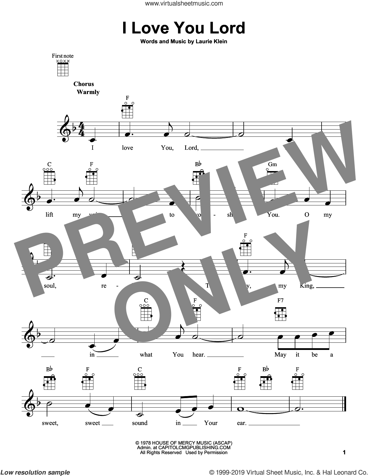 I Love You Lord sheet music for ukulele by Laurie Klein, intermediate skill level