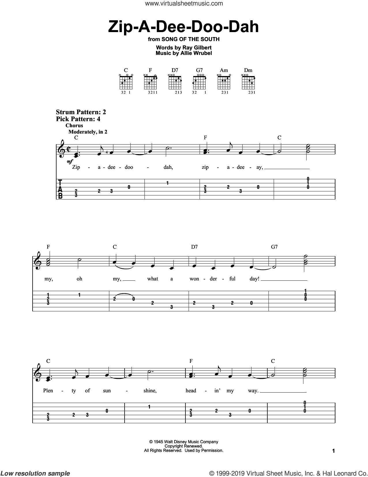 Zip-A-Dee-Doo-Dah sheet music for guitar solo (easy tablature) by Ray Gilbert and Allie Wrubel, easy guitar (easy tablature)