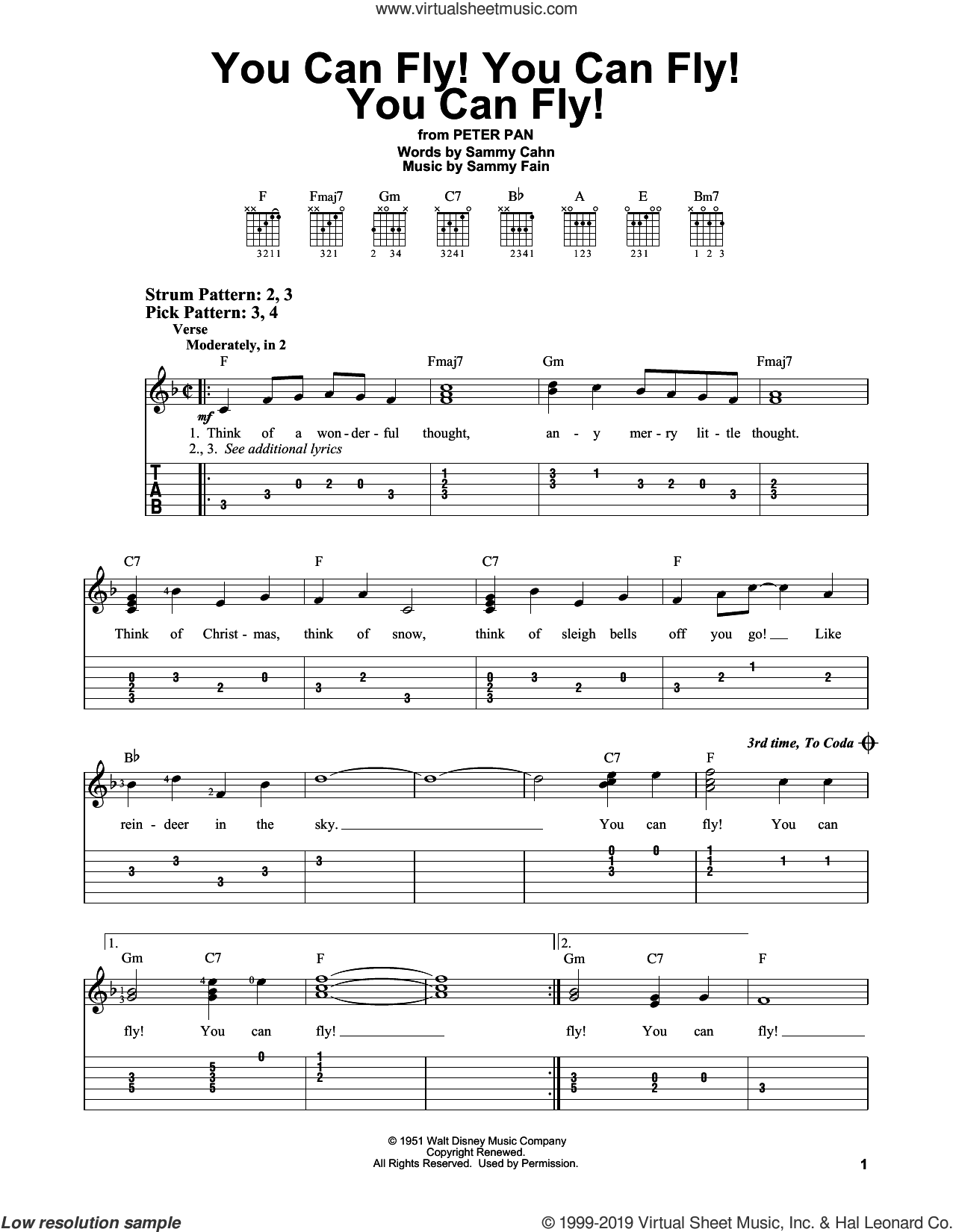 You Can Fly! You Can Fly! You Can Fly! sheet music for guitar solo (easy tablature) by Sammy Cahn and Sammy Fain, easy guitar (easy tablature)