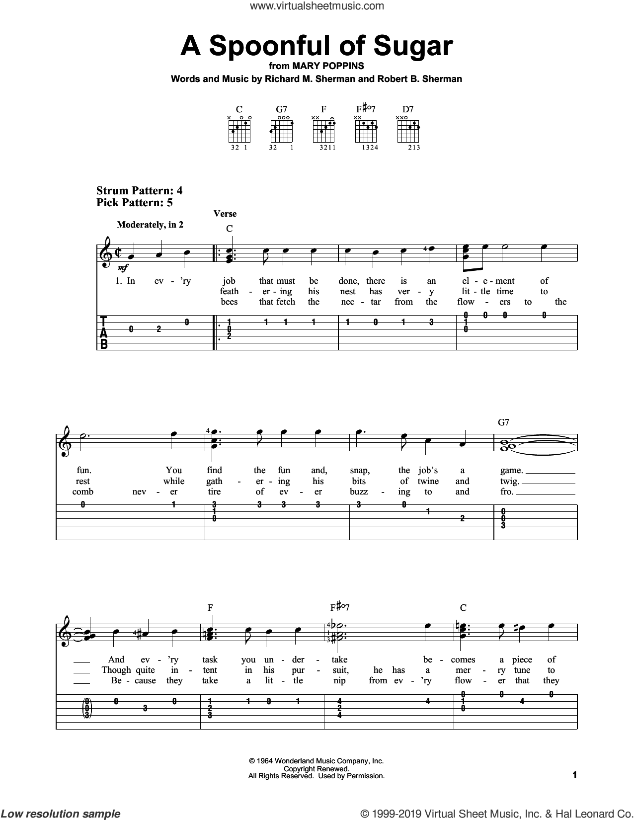 A Spoonful Of Sugar sheet music for guitar solo (easy tablature) by Richard M. Sherman, Richard & Robert Sherman and Robert B. Sherman, easy guitar (easy tablature)