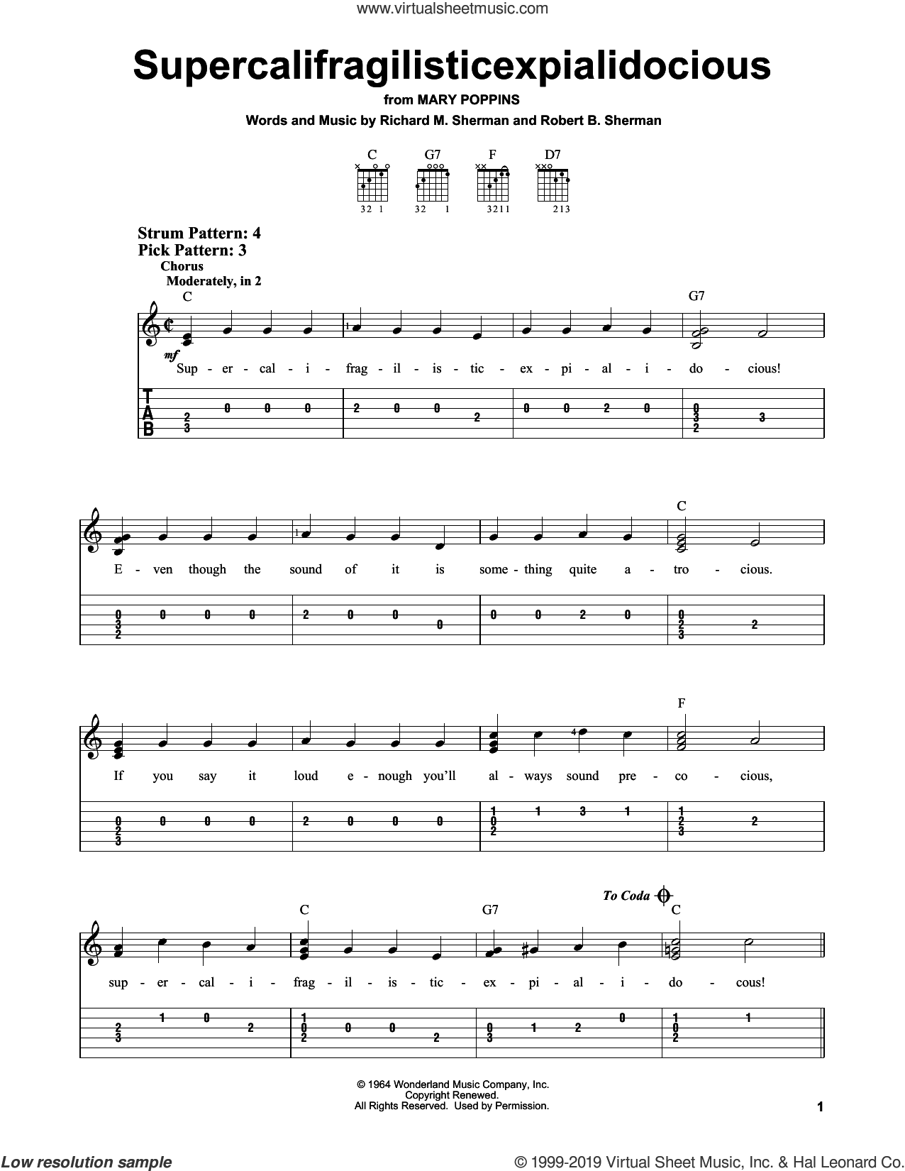 Supercalifragilisticexpialidocious sheet music for guitar solo (easy tablature) by Richard M. Sherman, Richard & Robert Sherman and Robert B. Sherman, easy guitar (easy tablature)