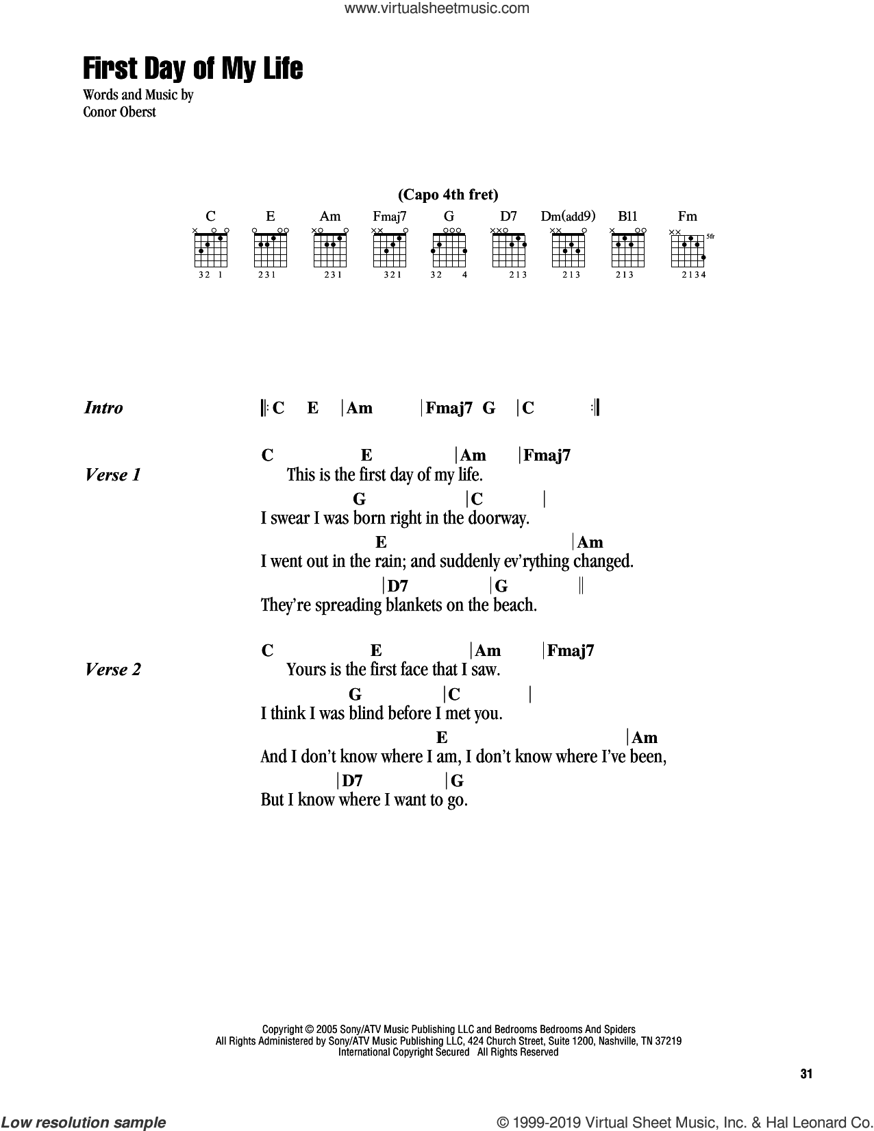 First Day Of My Life sheet music for guitar (chords) by Bright Eyes and Conor Oberst, wedding score, intermediate skill level