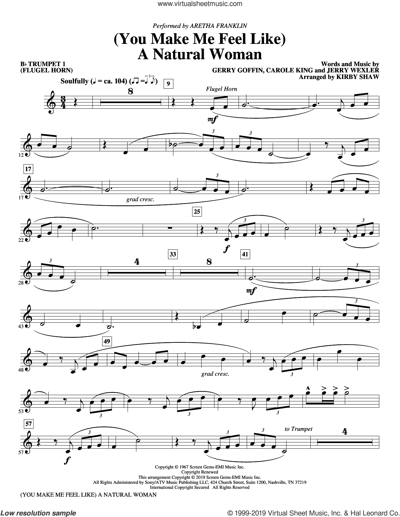(You Make Me Feel Like) A Natural Woman (complete set of parts) sheet music for orchestra/band by Carole King, Aretha Franklin, Celine Dion, Gerry Goffin, Jerry Wexler and Mary J. Blige, intermediate skill level