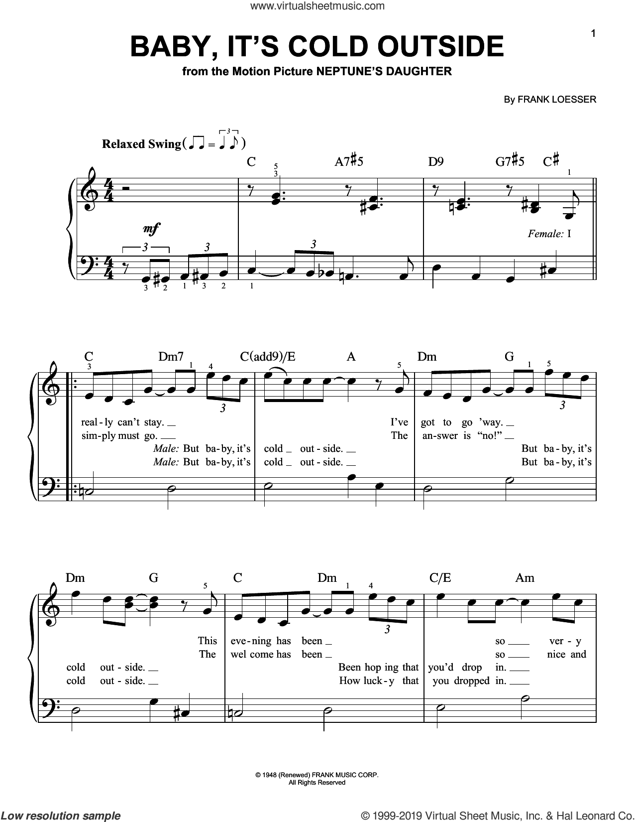 Baby, It's Cold Outside sheet music for piano solo by Frank Loesser, easy skill level