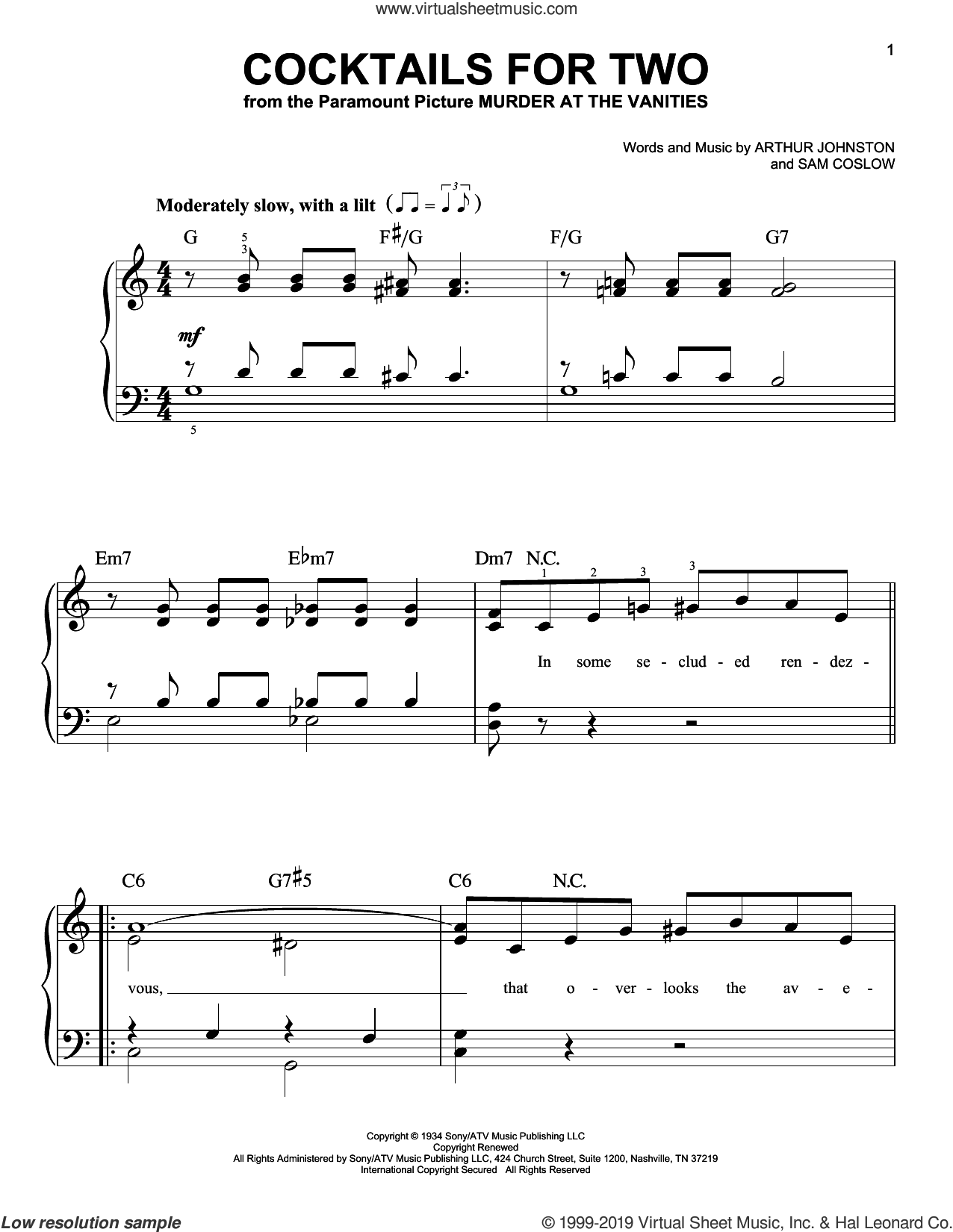 Cocktails For Two sheet music for piano solo by Arthur Johnston, Carl Brisson, Miriam Hopkins, Spike Jones & The City Slickers and Sam Coslow, easy skill level