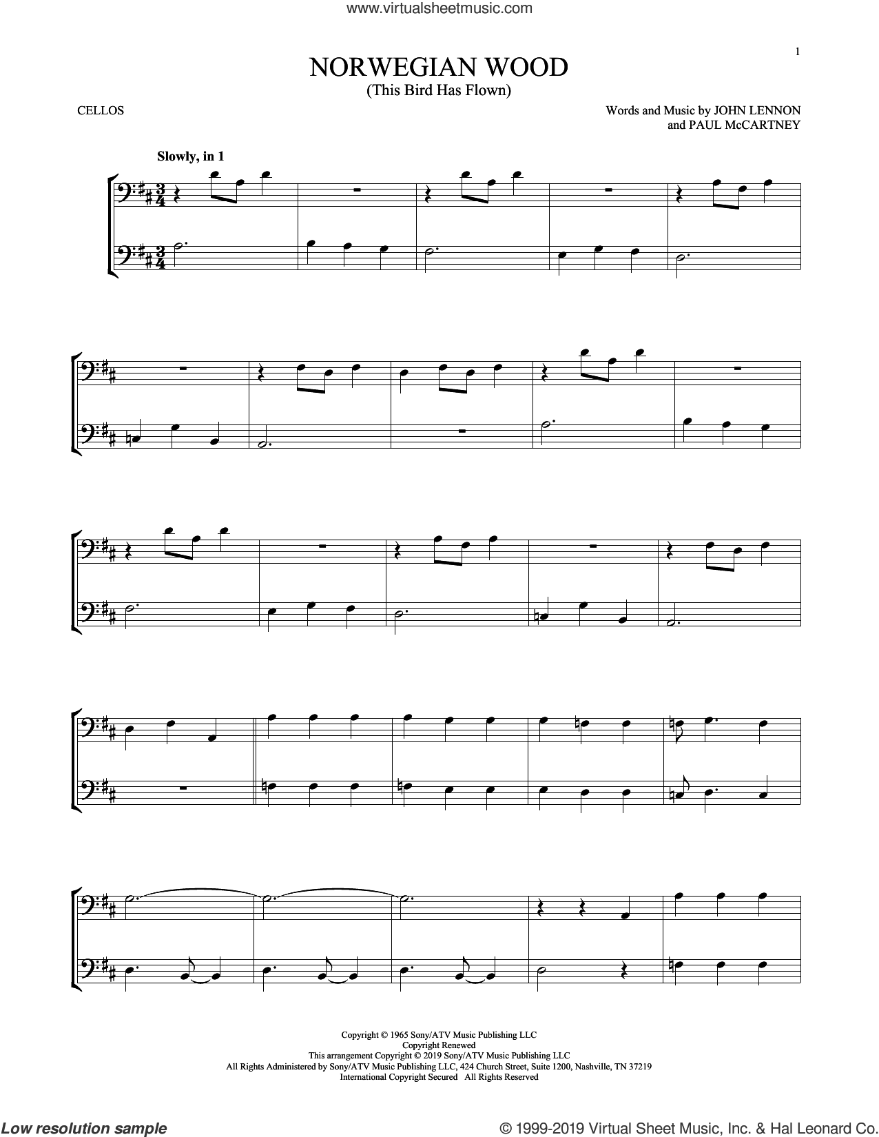 Norwegian Wood (This Bird Has Flown) sheet music for two cellos (duet, duets) by The Beatles, John Lennon and Paul McCartney, intermediate skill level