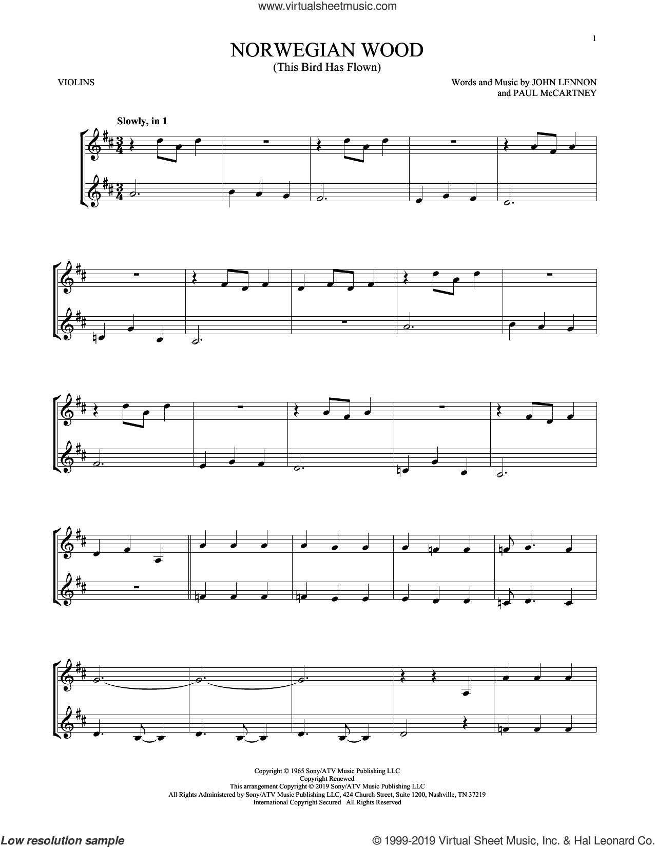 Norwegian Wood (This Bird Has Flown) sheet music for two violins (duets, violin duets) by The Beatles, John Lennon and Paul McCartney, intermediate skill level
