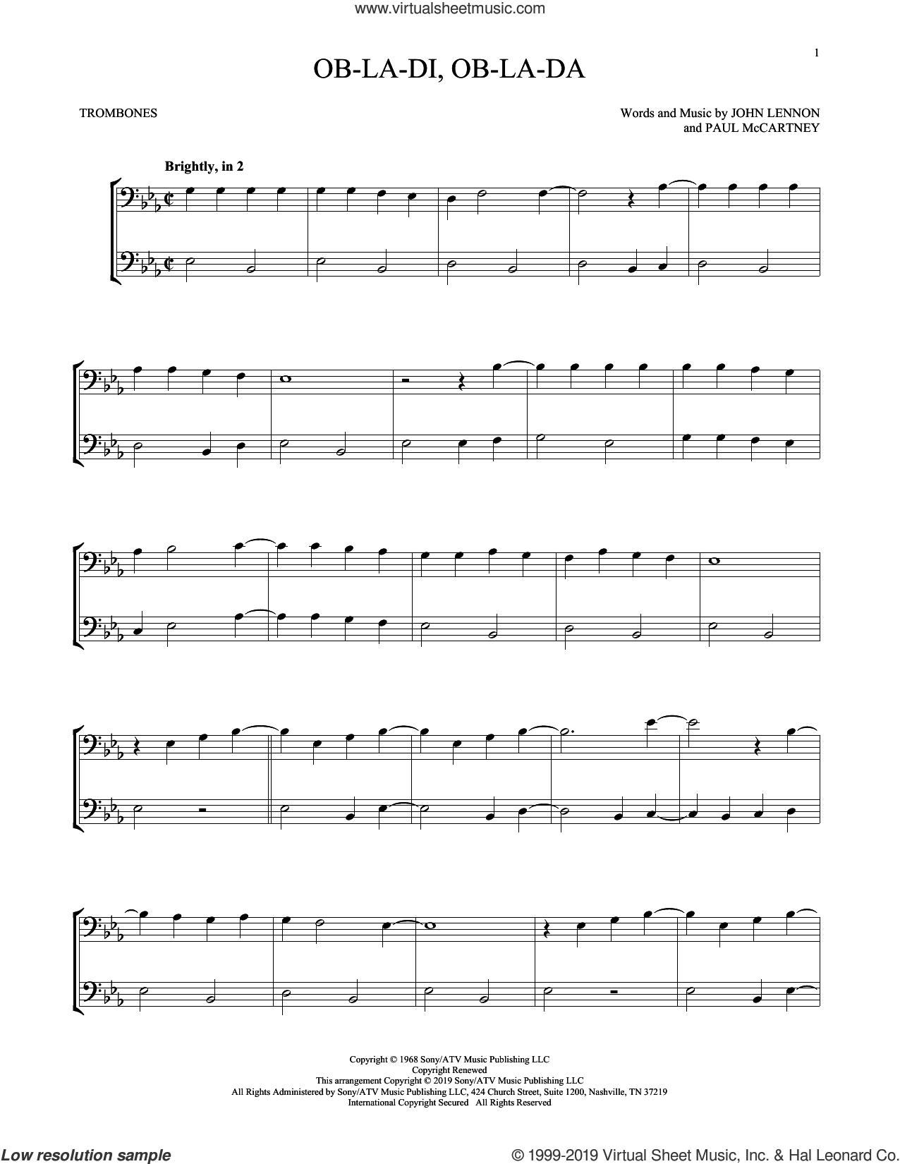 Ob-La-Di, Ob-La-Da sheet music for two trombones (duet, duets) by The Beatles, John Lennon and Paul McCartney, intermediate skill level