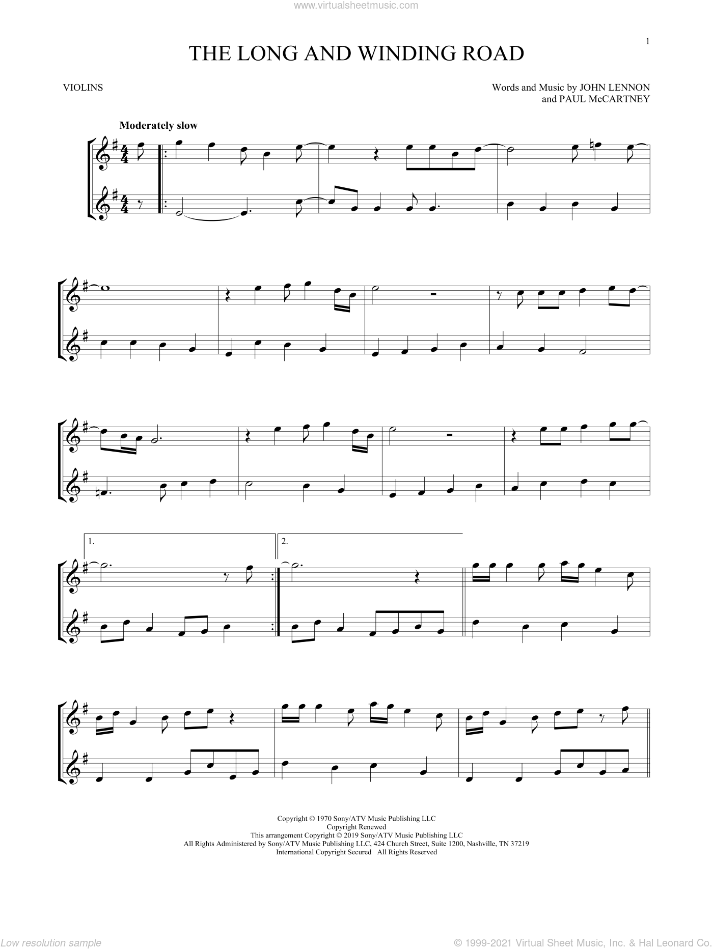 The Long And Winding Road sheet music for two violins (duets, violin duets) by The Beatles, John Lennon and Paul McCartney, intermediate skill level