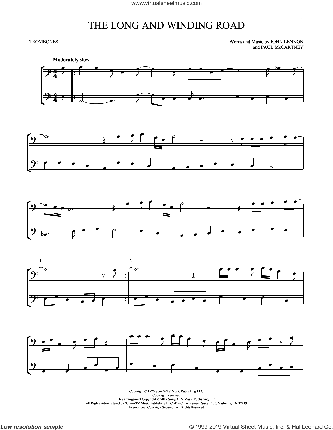 The Long And Winding Road sheet music for two trombones (duet, duets) by The Beatles, intermediate skill level