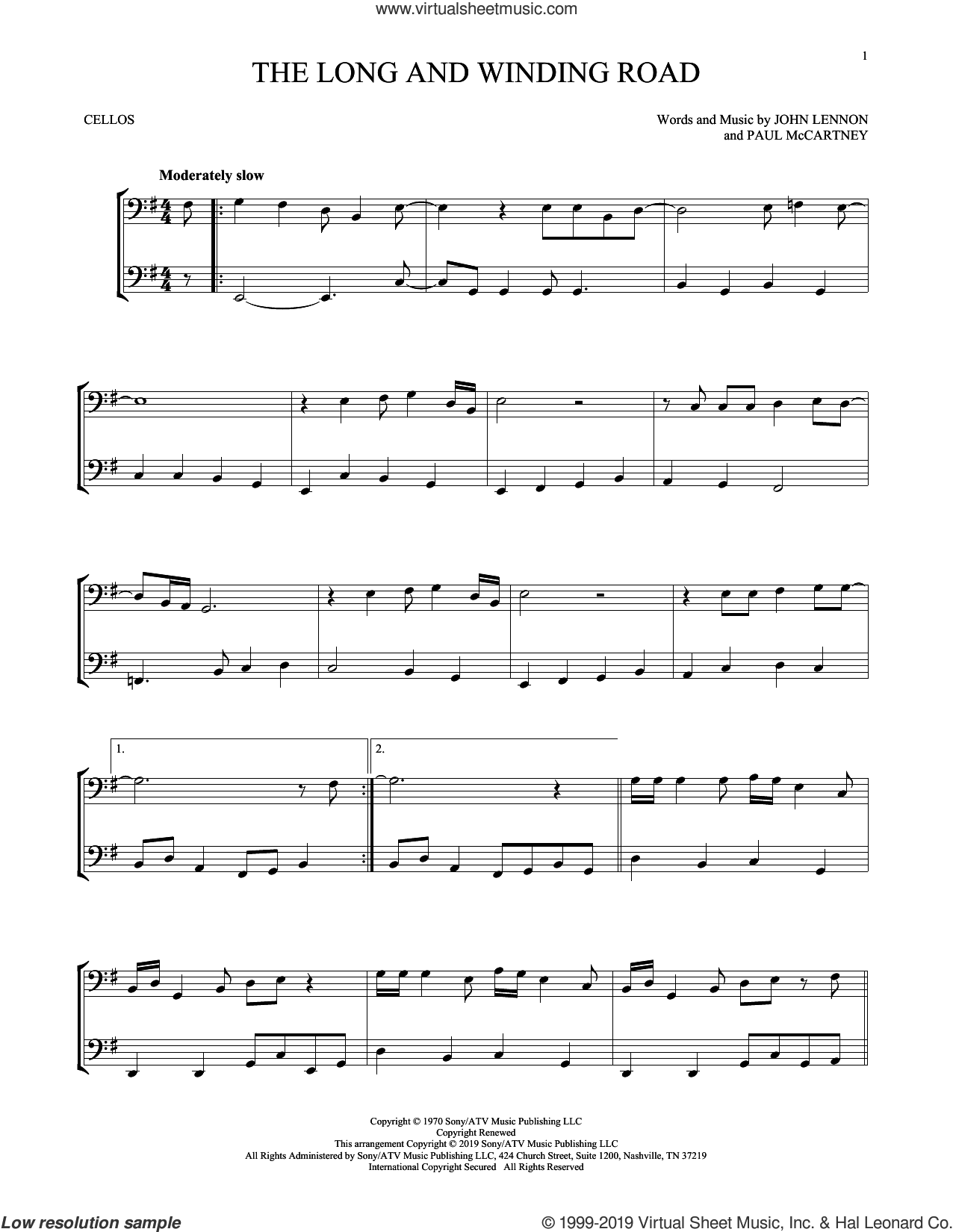 The Long And Winding Road sheet music for two cellos (duet, duets) by The Beatles, John Lennon and Paul McCartney, intermediate skill level
