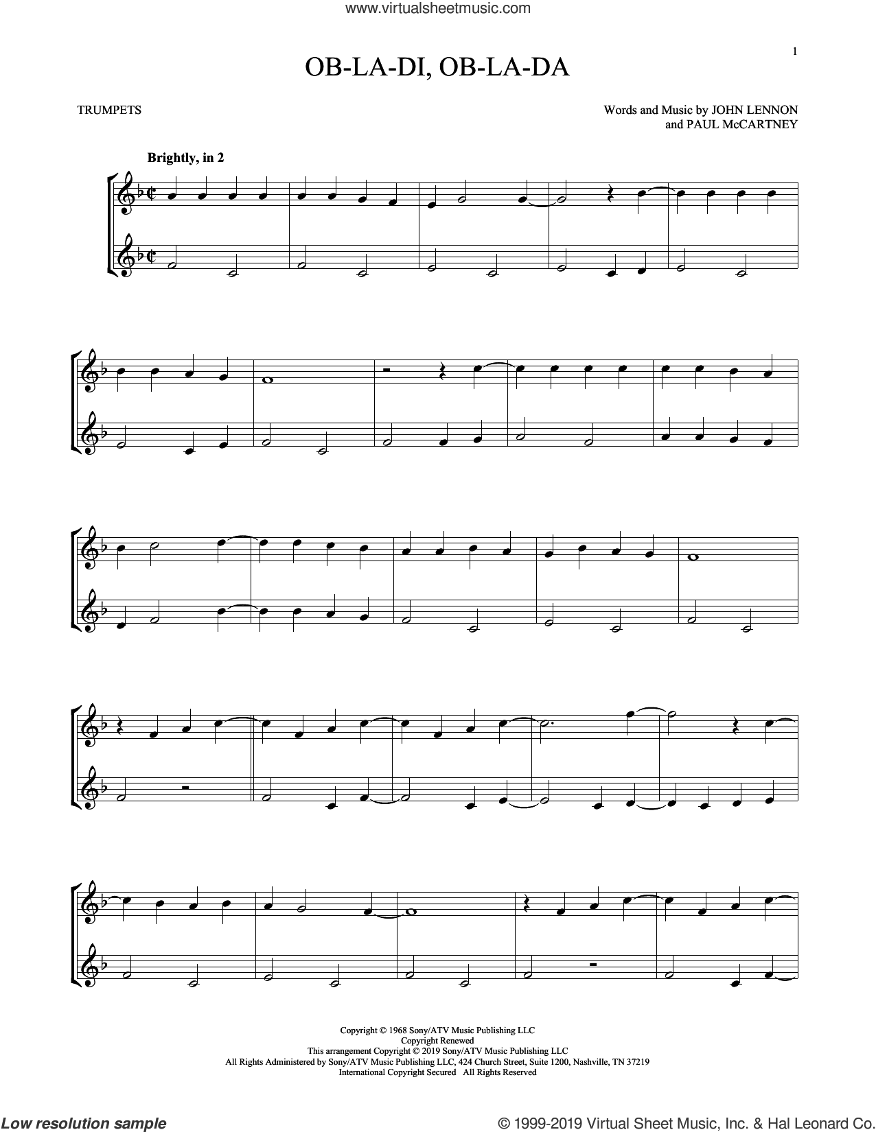 Ob-La-Di, Ob-La-Da sheet music for two trumpets (duet, duets) by The Beatles, John Lennon and Paul McCartney, intermediate skill level