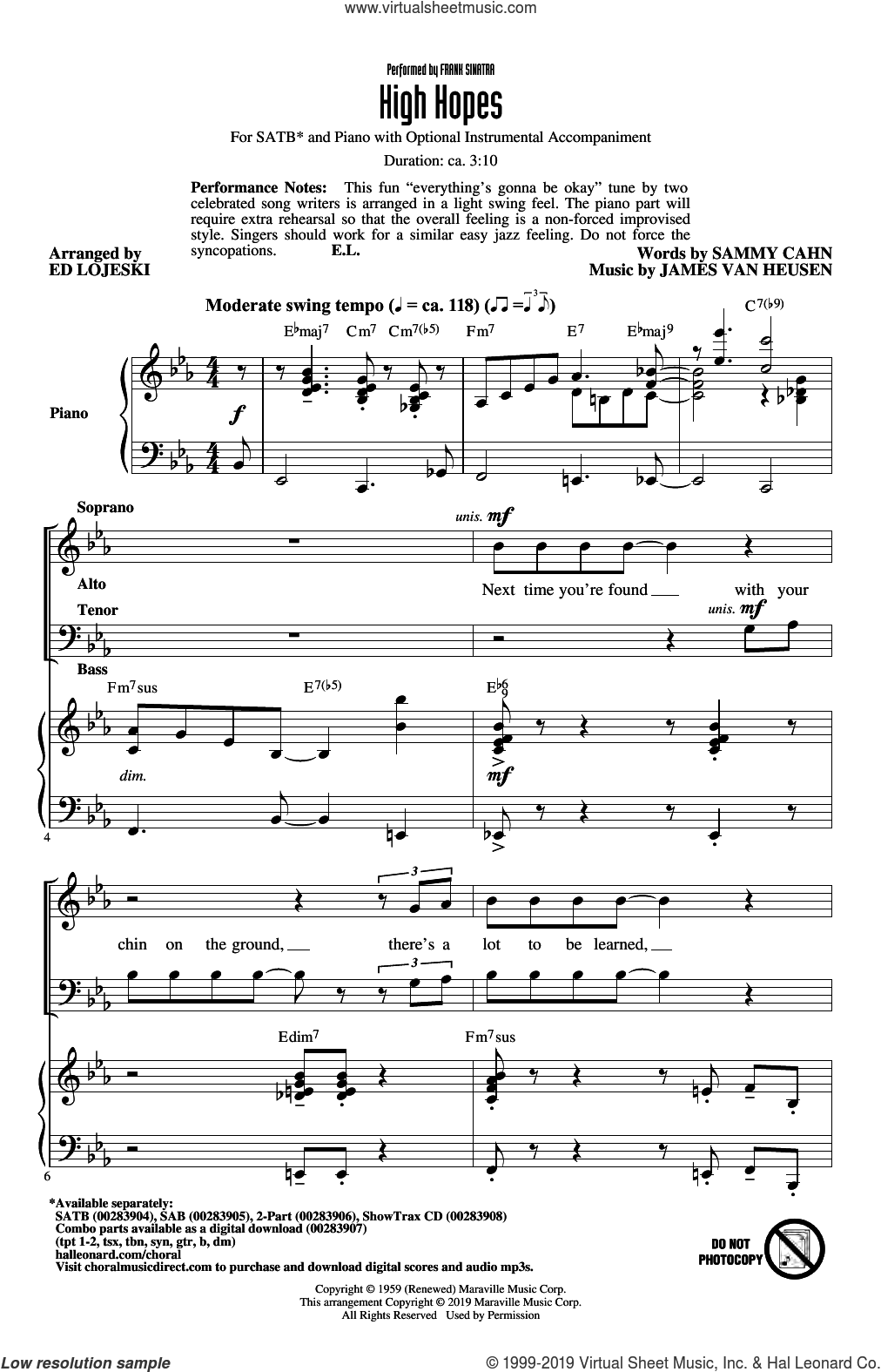 High Hopes (arr. Ed Lojeski) sheet music for choir (SATB: soprano, alto, tenor, bass) by Frank Sinatra, Ed Lojeski, Jimmy van Heusen and Sammy Cahn, intermediate skill level