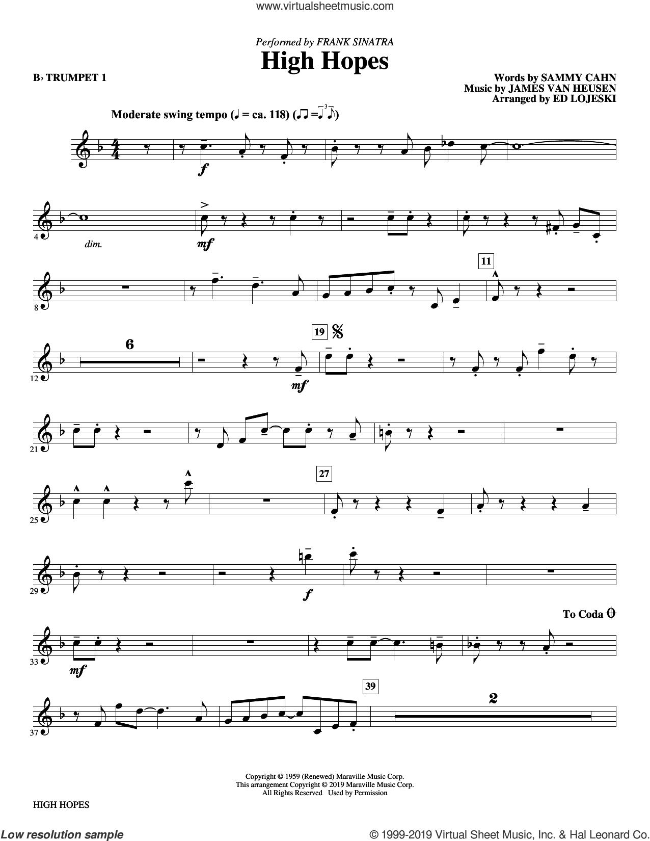 High Hopes (arr. Ed Lojeski) (complete set of parts) sheet music for orchestra/band by Frank Sinatra, Ed Lojeski, Jimmy van Heusen and Sammy Cahn, intermediate skill level