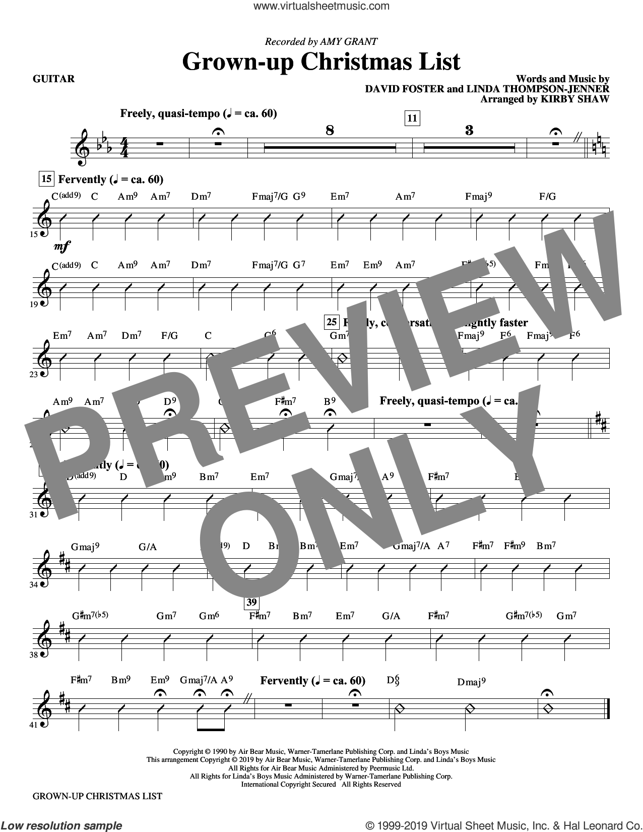 Grown-Up Christmas List (arr. Kirby Shaw) (complete set of parts) sheet music for orchestra/band by Kirby Shaw, Amy Grant, David Foster and Linda Thompson-Jenner, intermediate skill level