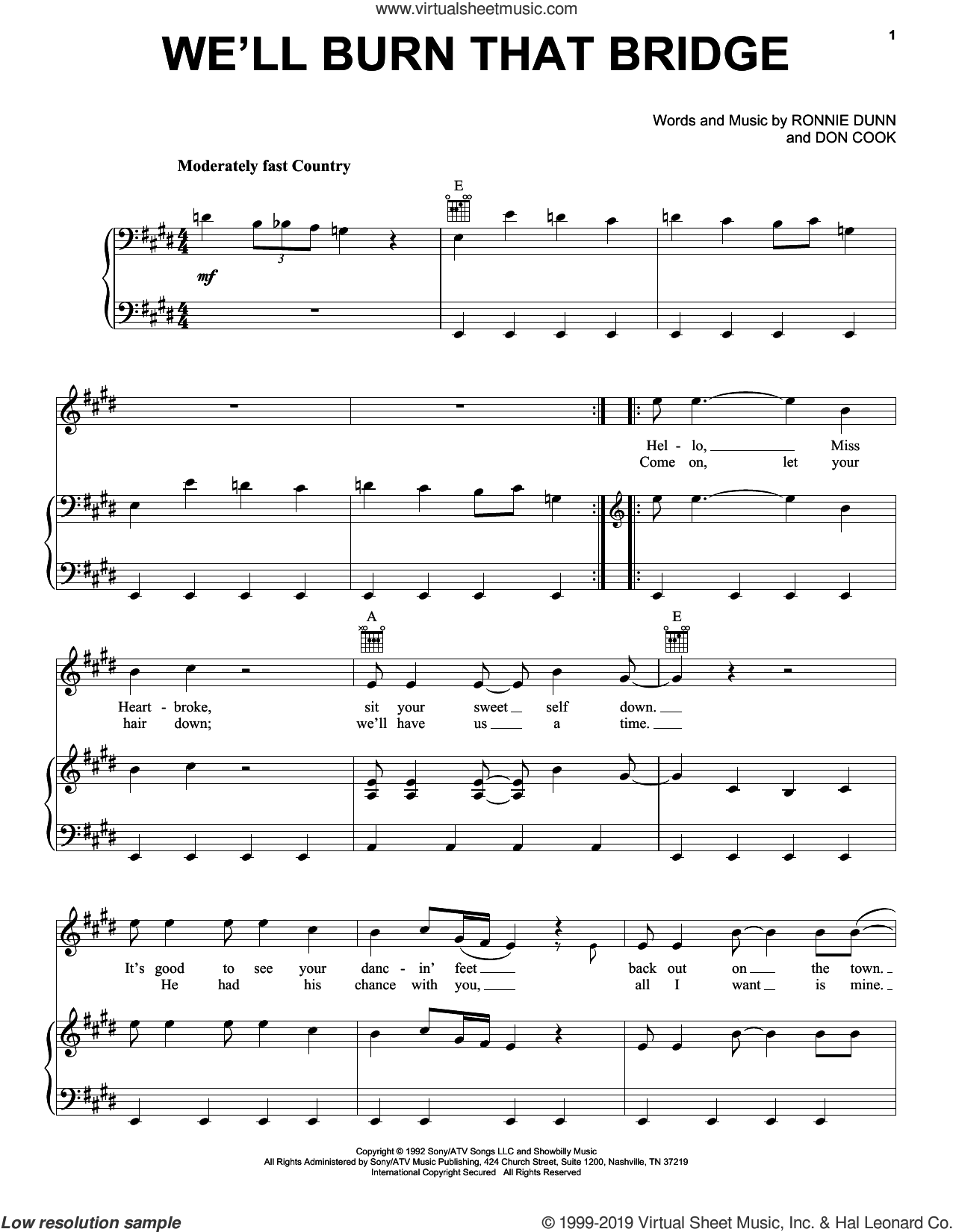 We'll Burn That Bridge sheet music for voice, piano or guitar by Brooks & Dunn, Don Cook and Ronnie Dunn, intermediate skill level