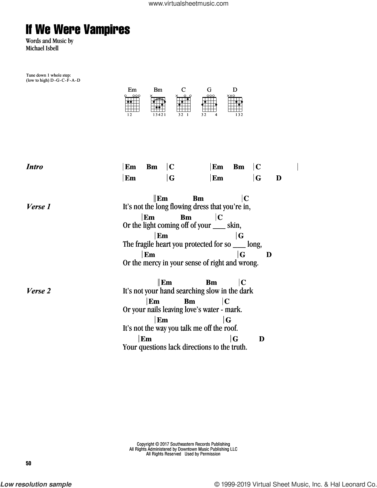 If We Were Vampires sheet music for guitar (chords) by Jason Isbell & The 400 Unit and Michael Isbell, intermediate skill level