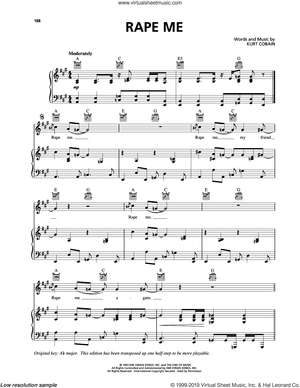 Rape Me sheet music for voice, piano or guitar by Nirvana and Kurt Cobain, intermediate skill level