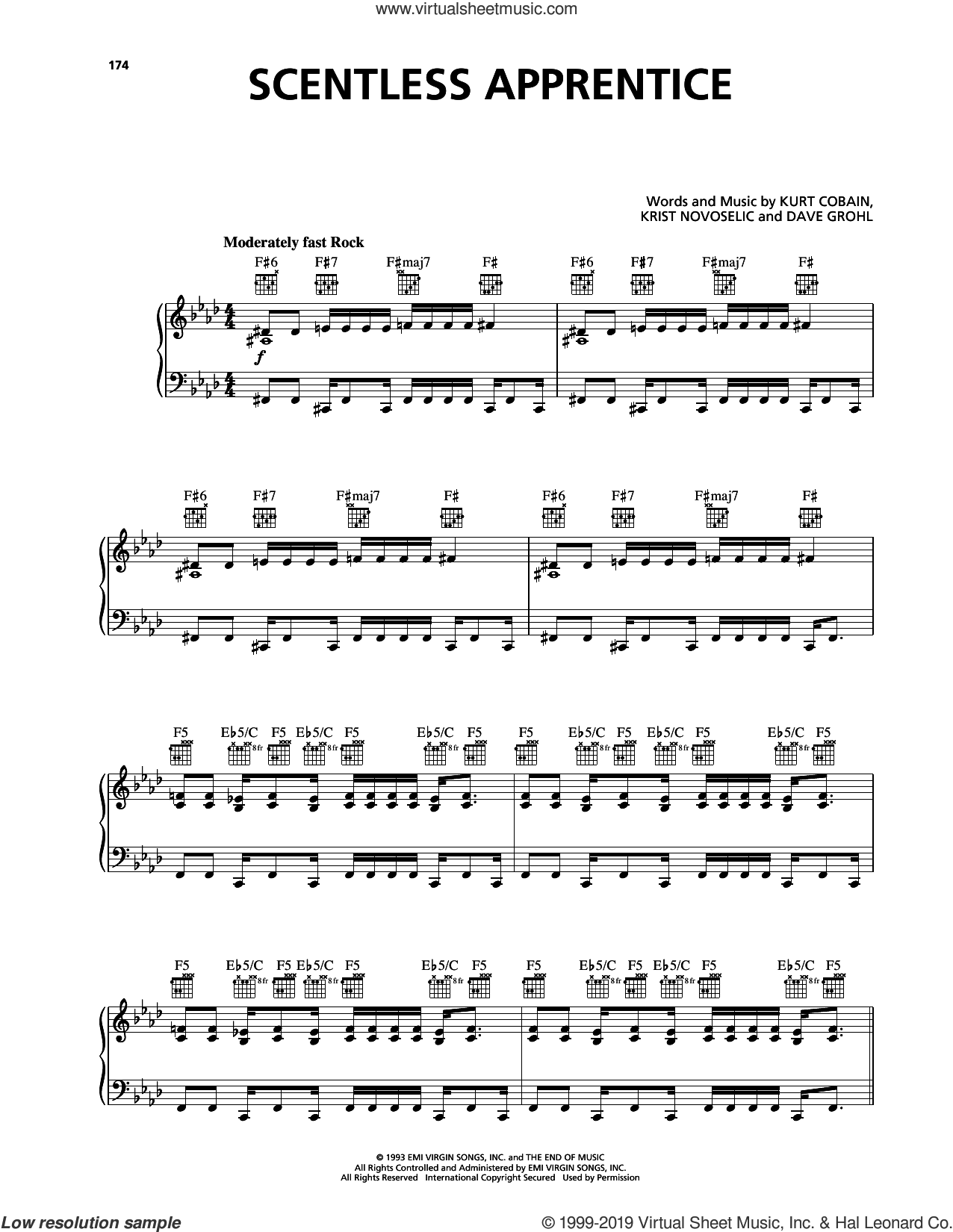 Scentless Apprentice sheet music for voice, piano or guitar by Nirvana, Dave Grohl, Krist Novoselic and Kurt Cobain, intermediate skill level