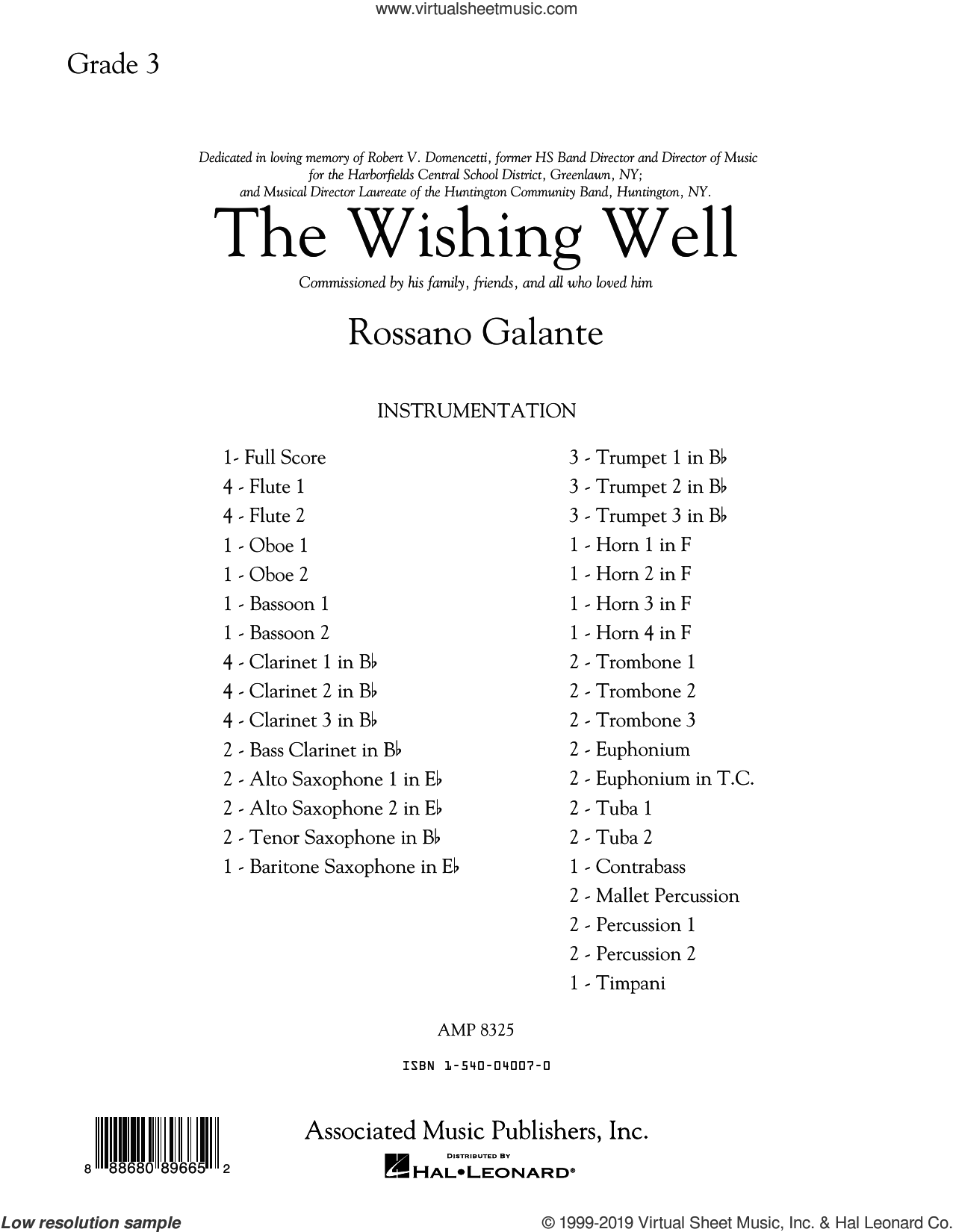 The Wishing Well (COMPLETE) sheet music for concert band by Rossano Galante, intermediate skill level