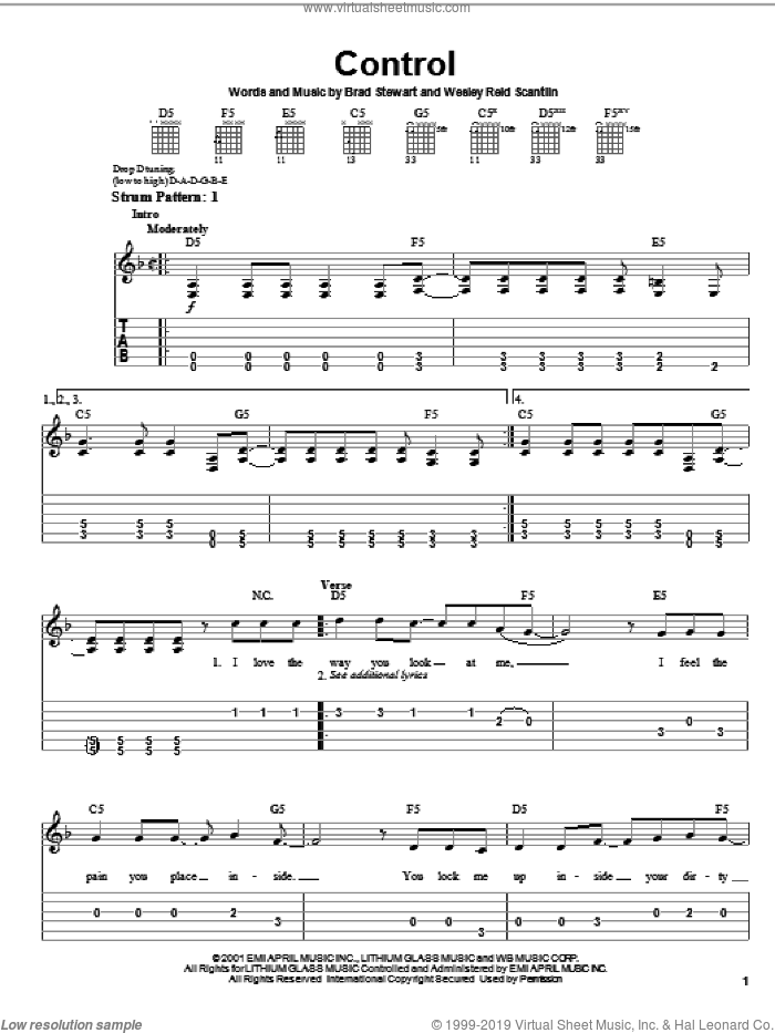 Control sheet music for guitar solo (chords) by Puddle Of Mudd, Brad Stewart and Wes Scantlin, easy guitar (chords). Score Image Preview.