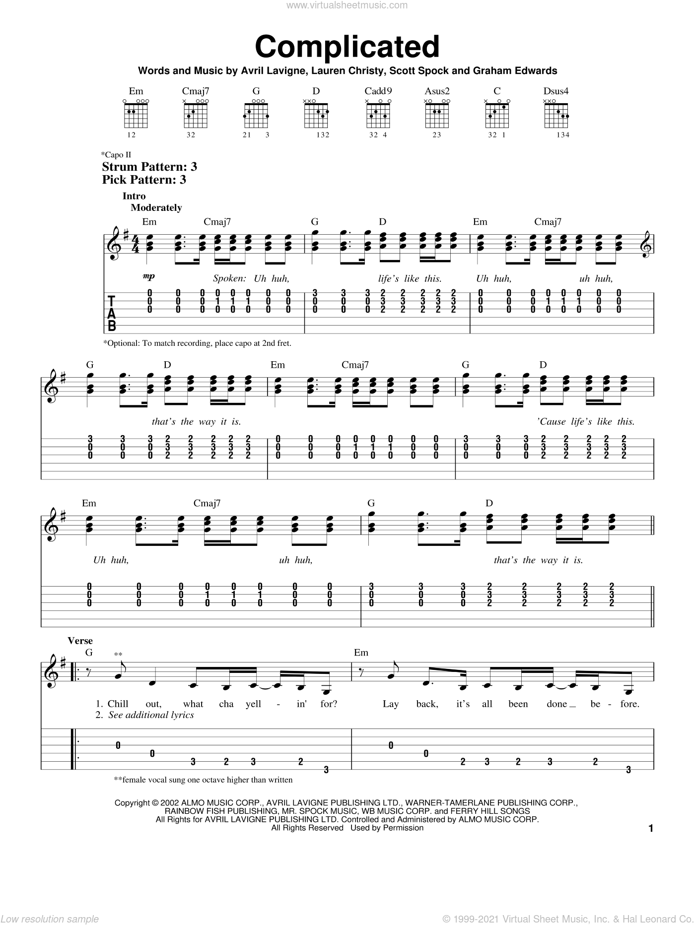 Complicated sheet music for guitar solo (chords) by Avril Lavigne, Lauren Christy and Scott Spock, easy guitar (chords)
