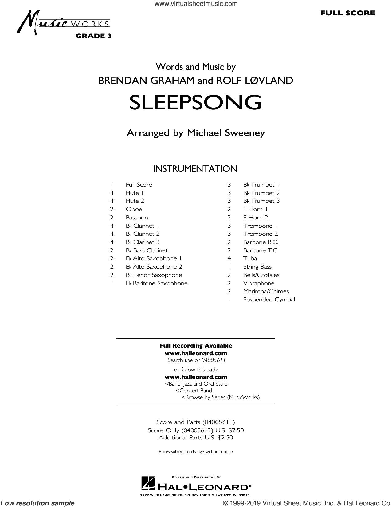 Sleepsong (arr. Michael Sweeney) (COMPLETE) sheet music for concert band by Michael Sweeney, Brendan Graham, Rolf Lovland and Secret Garden, classical score, intermediate skill level