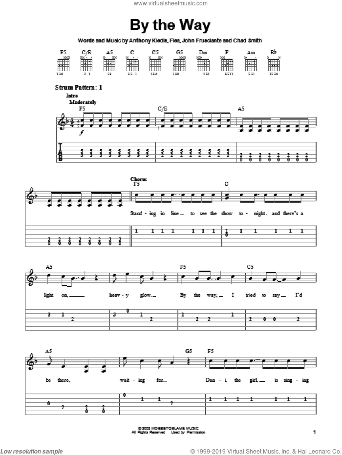 By The Way sheet music for guitar solo (chords) by John Frusciante, Red Hot Chili Peppers and Flea. Score Image Preview.