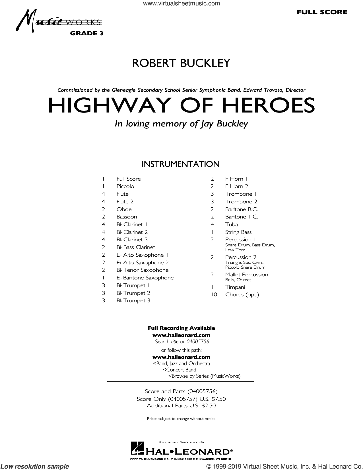 Highway of Heroes (COMPLETE) sheet music for concert band by Robert Buckley, intermediate skill level