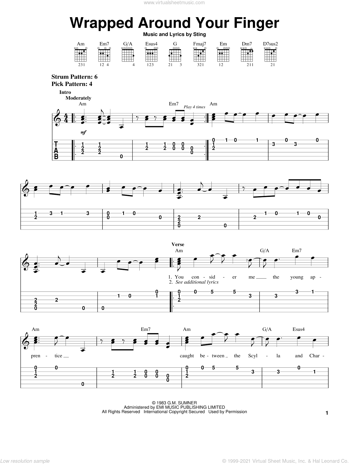 Wrapped Around Your Finger sheet music for guitar solo (easy tablature) by The Police and Sting, easy guitar (easy tablature). Score Image Preview.