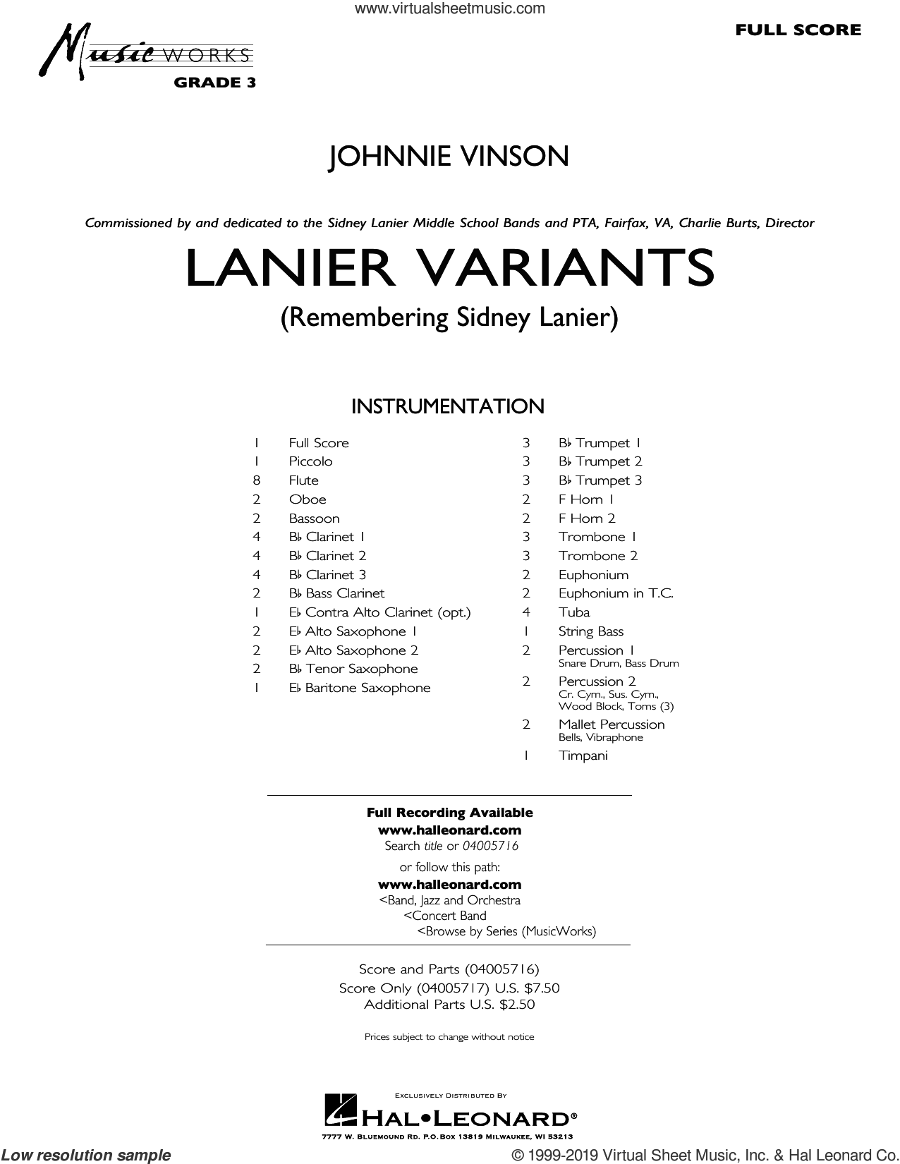 Lanier Variants (COMPLETE) sheet music for concert band by Johnnie Vinson, intermediate skill level