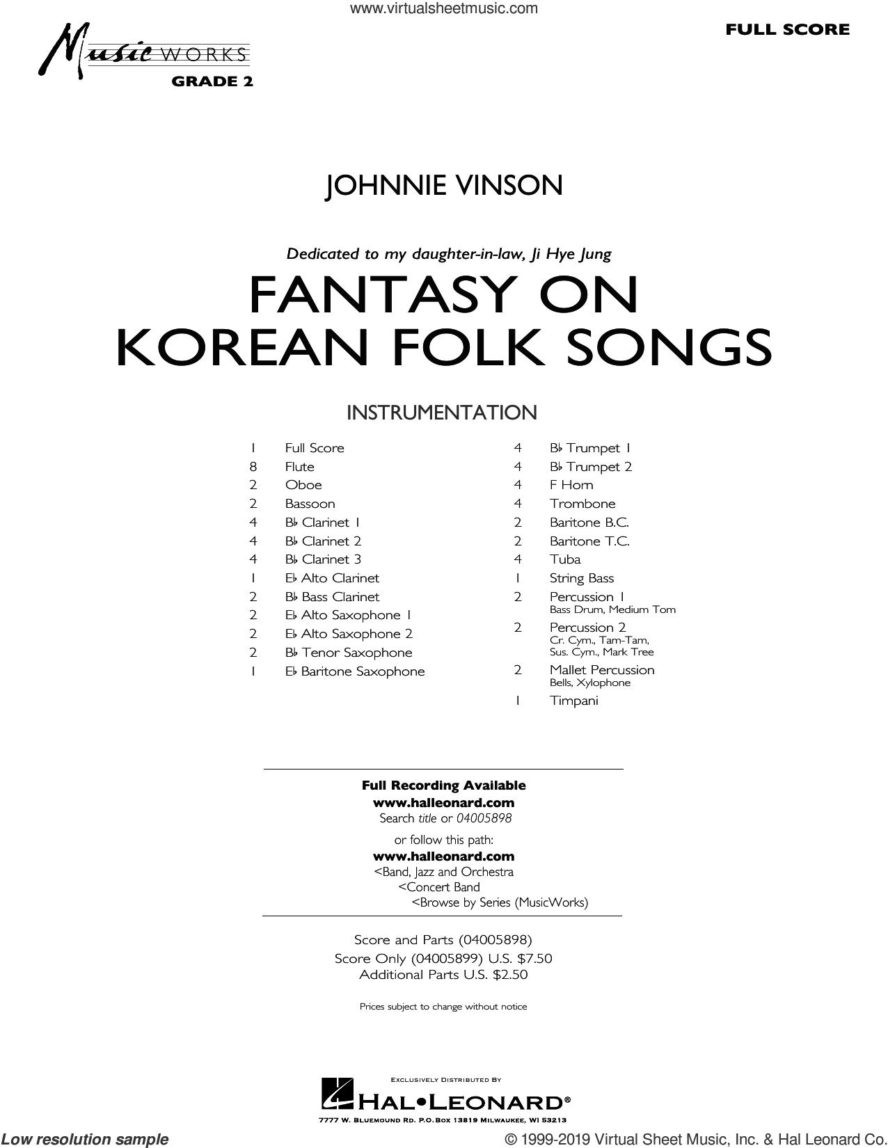 Fantasy on Korean Folk Songs (COMPLETE) sheet music for concert band by Johnnie Vinson, intermediate skill level